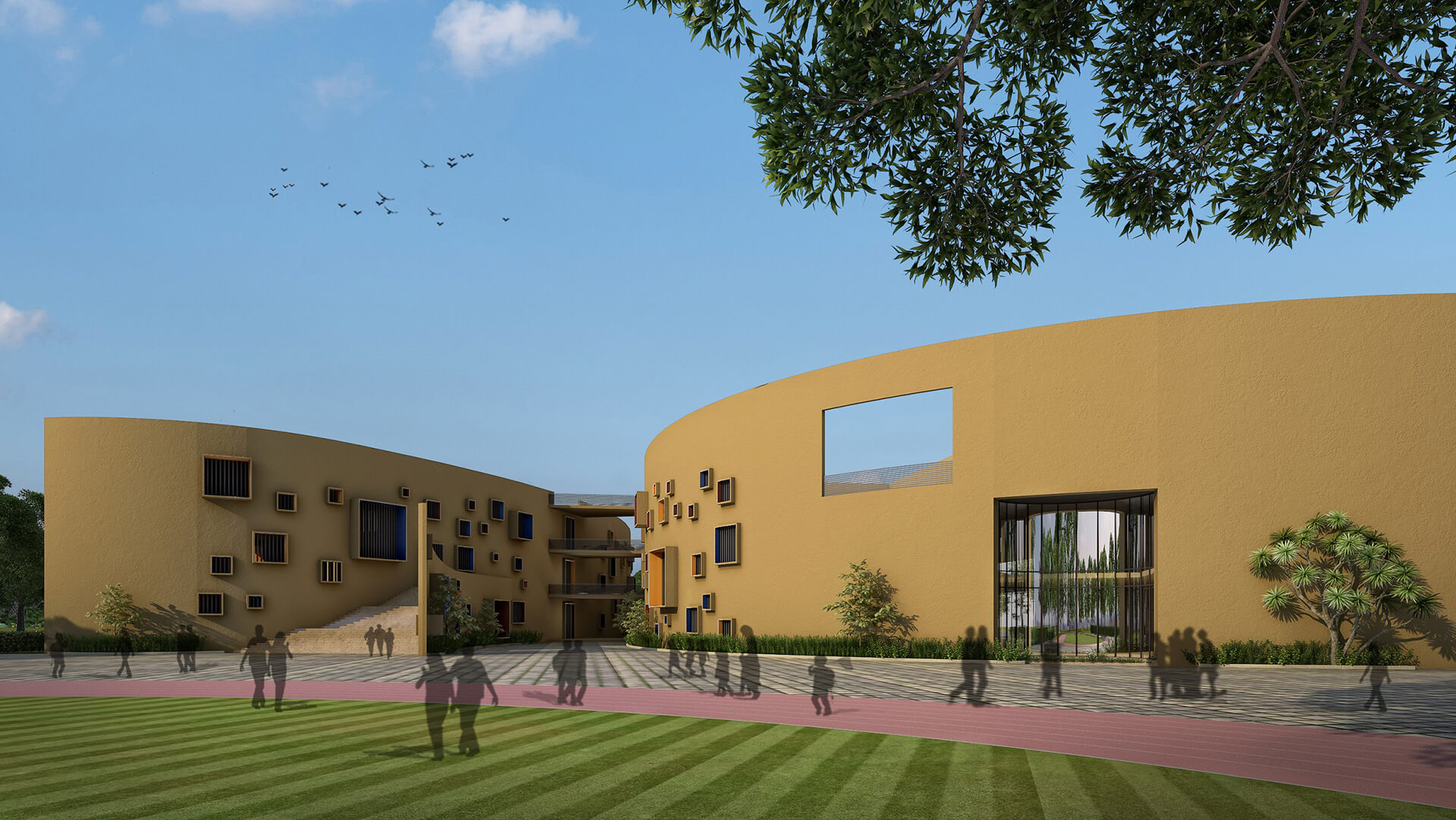 Central circulation spaces at the Shree School in Raipur | Shree School in Raipur by Sanjay Puri Architects | STIRworld