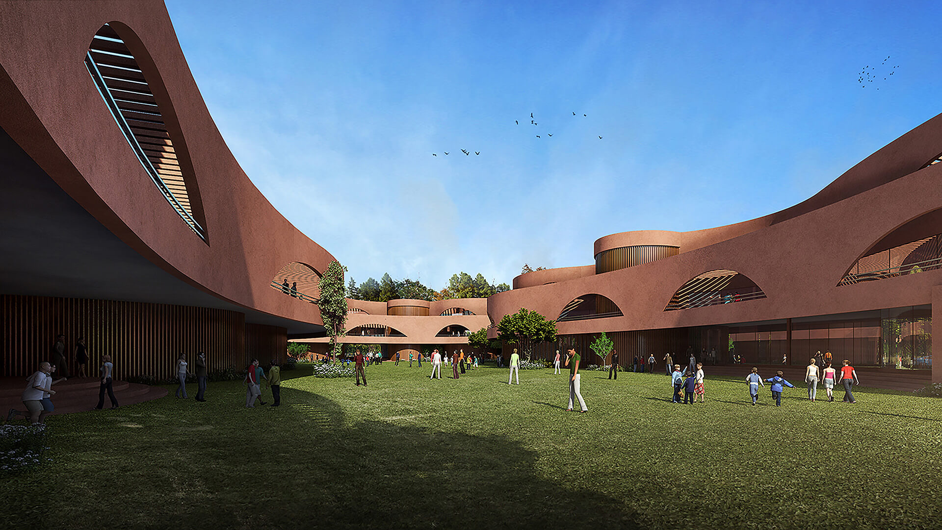 View from central courtyard towards the south of Learning Curves | Learning Curves in Raipur by Sanjay Puri Architects | STIRworld