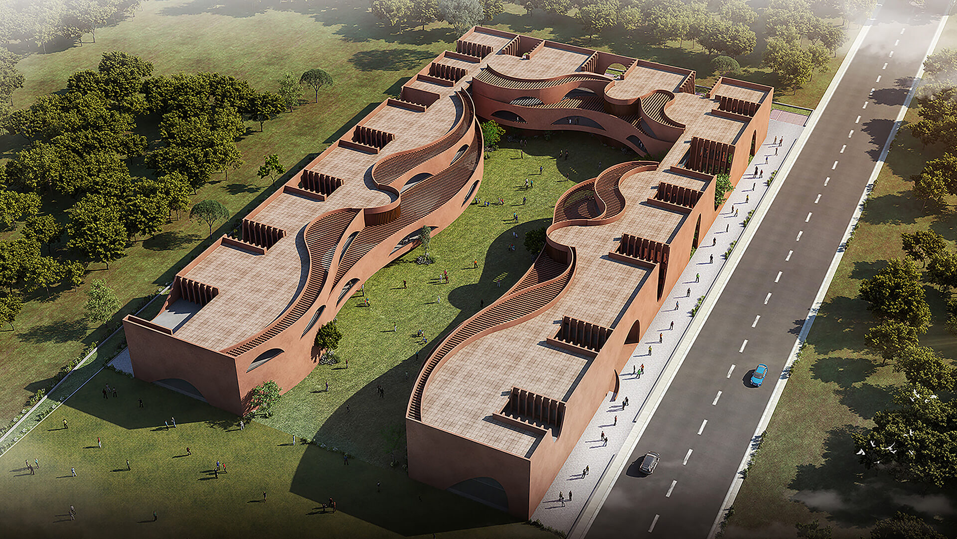 The aerial view of Learning Curves, Raipur | Learning Curves in Raipur by Sanjay Puri Architects | STIRworld