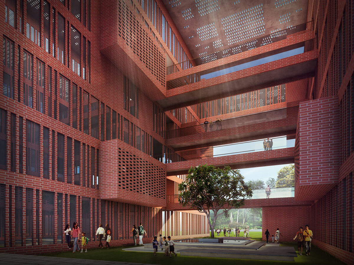 The view of Learning Squares in Aurangabad from the internal courtyard | Learning Squares in Aurangabad by Sanjay Puri Architects | STIRworld