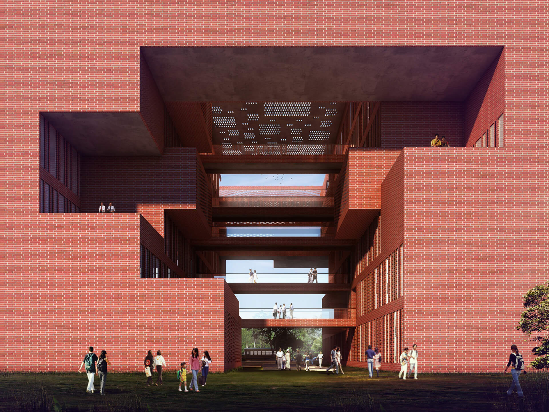 Cross ventilation in the internal courtyard of Learning Squares, Aurangabad | Learning Squares in Aurangabad by Sanjay Puri Architects | STIRworld