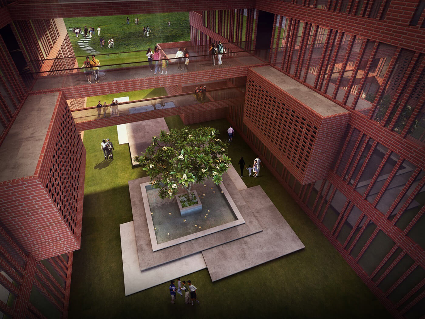 Central courtyard of Learning Squares, Aurangabad | Learning Squares in Aurangabad by Sanjay Puri Architects | STIRworld
