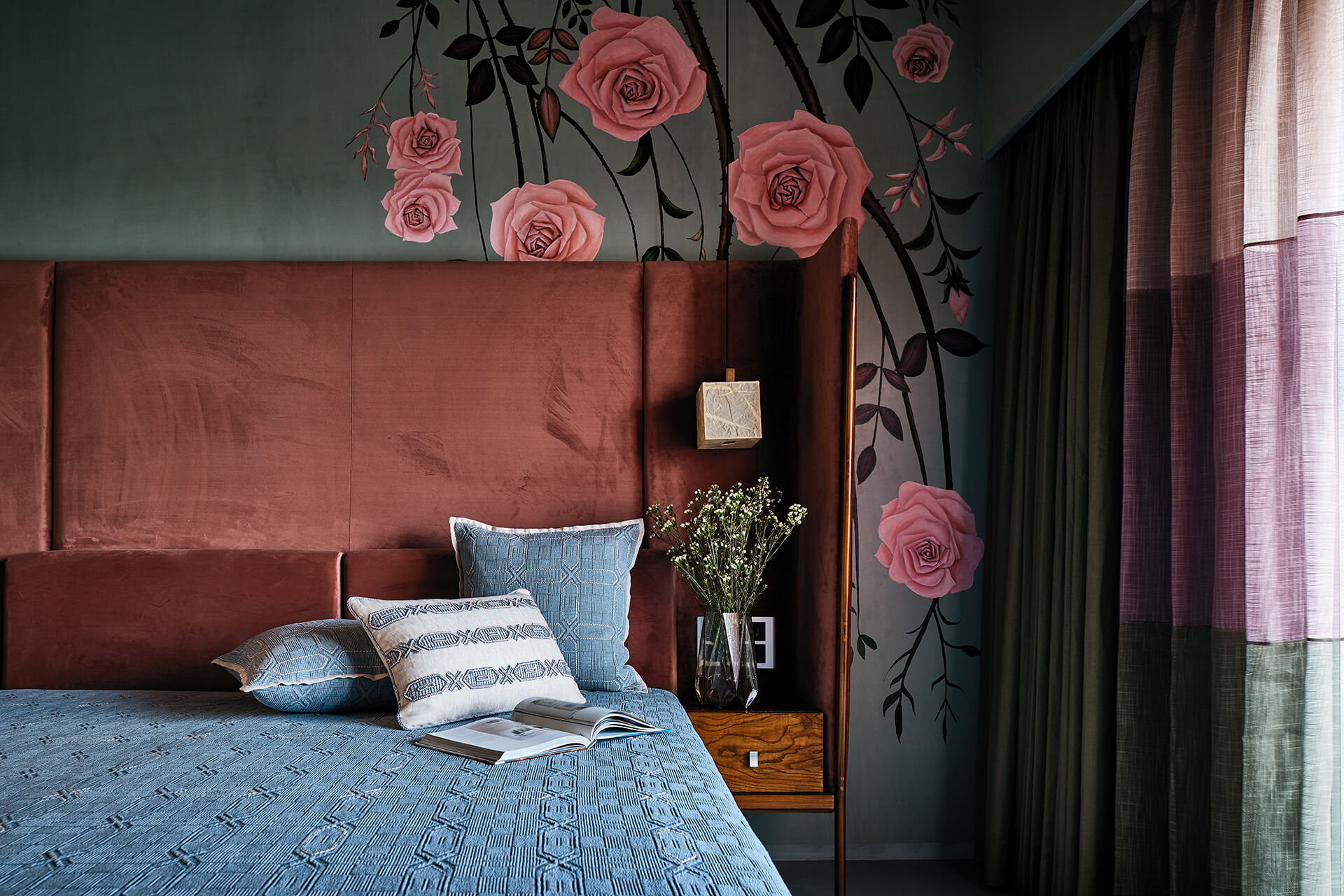 Rusts, greys and olives in the kid's room on the upper floor with a floral feature wall, customised bed from Magari , lights from Purple Turtle, sheets from Cotton and Satins | Ash Abode designed by FADD Studio | STIRworld