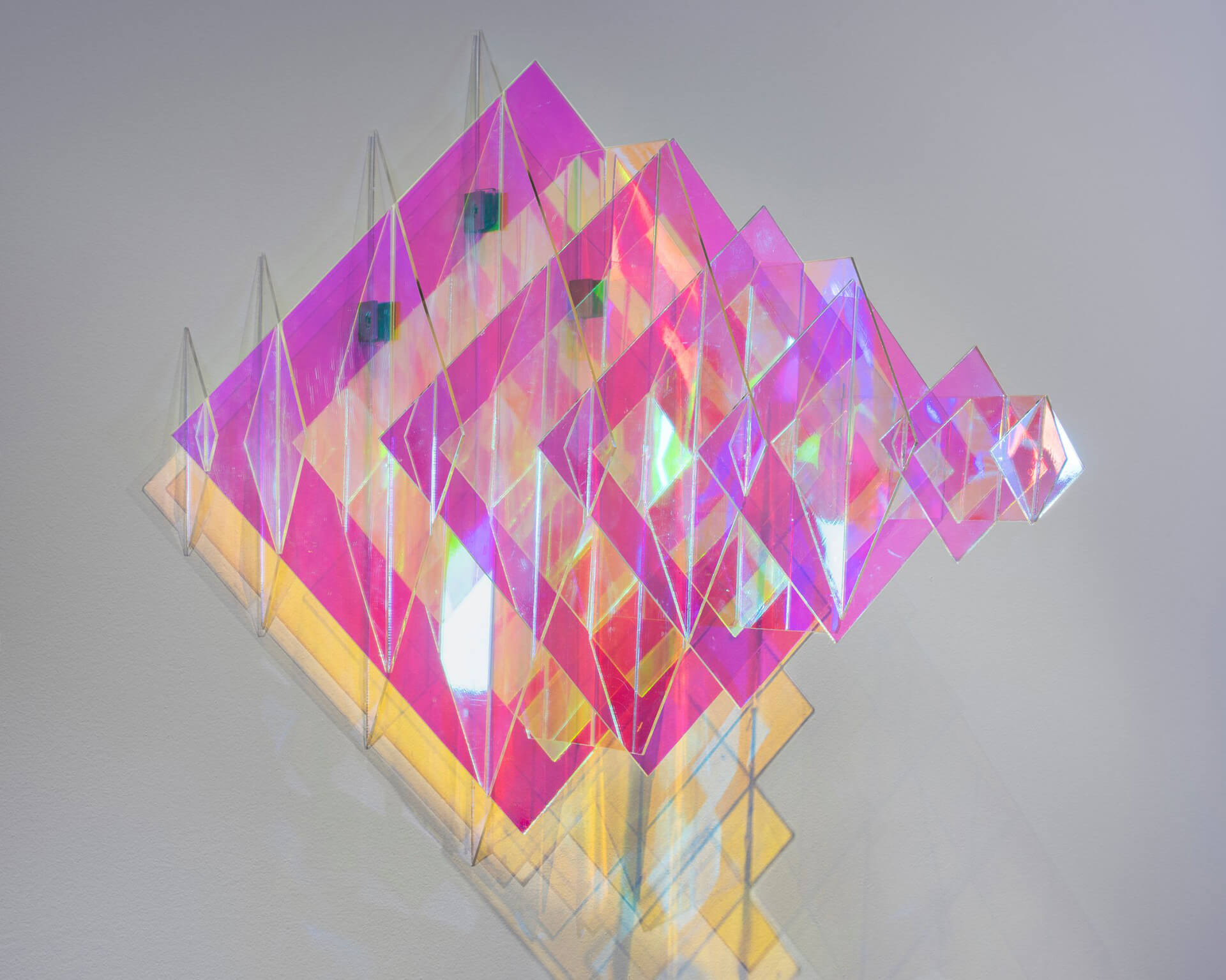 Another artwork from 'Subjective Structures' by Chamo, which engages the viewer's perception of colour and light | Sheer Appearances | Barak Chamo| STIRworld