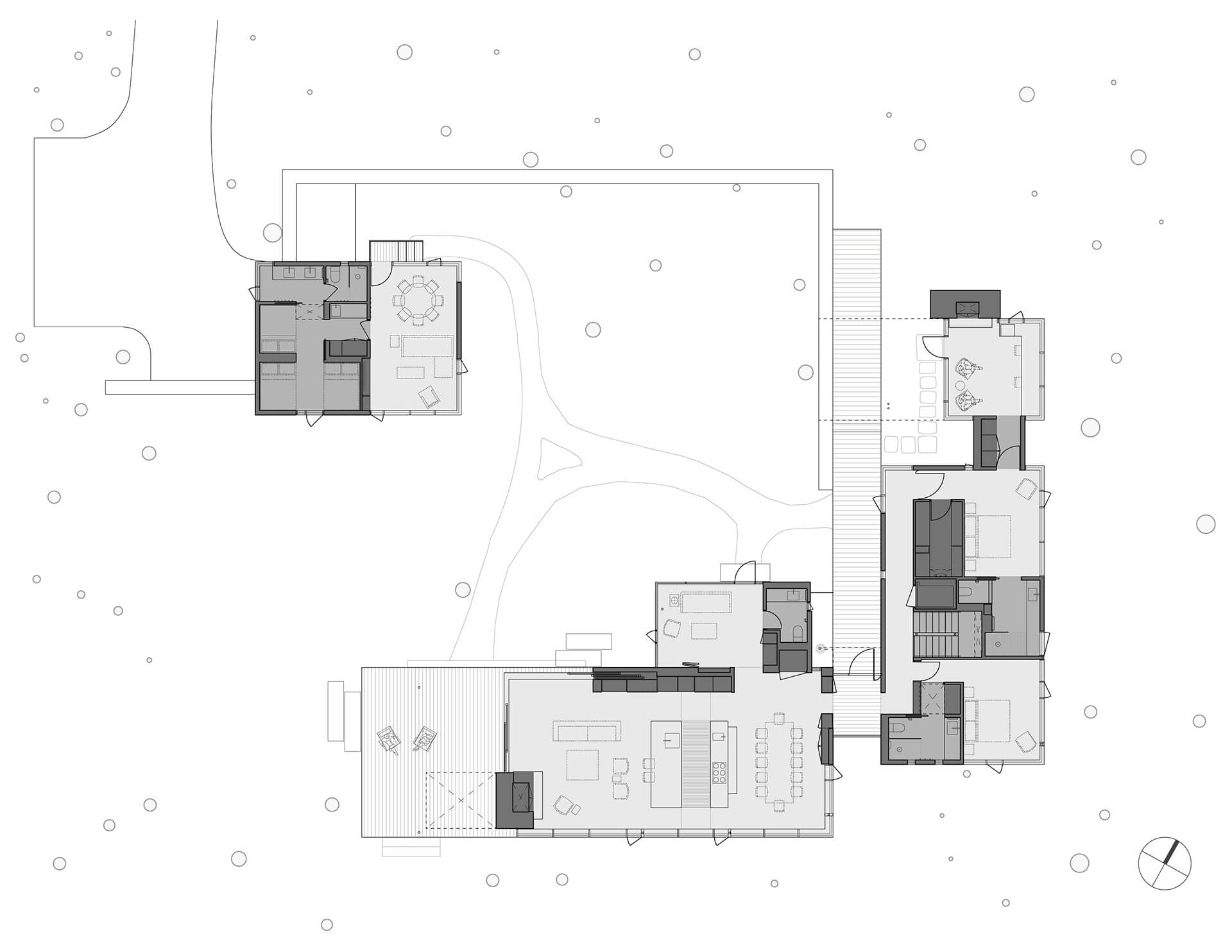 Floor plan illustrating how courtyards connect the three distinct volumes | Whidbey Island Farm Retreat by Mwworks | STIRworld