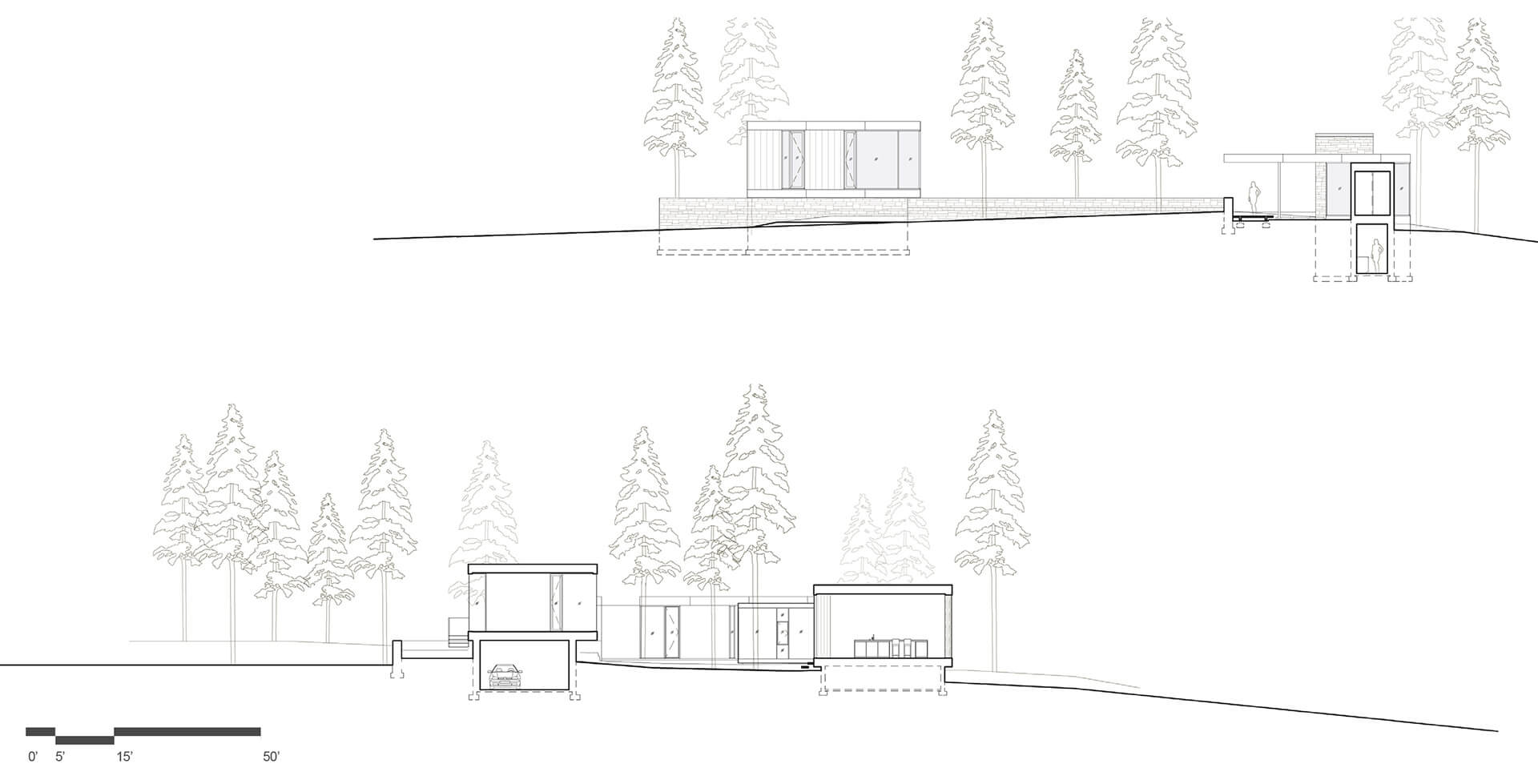 Sections showing massing of volumes above and below the ground | Whidbey Island Farm Retreat by mwworks | STIRworld