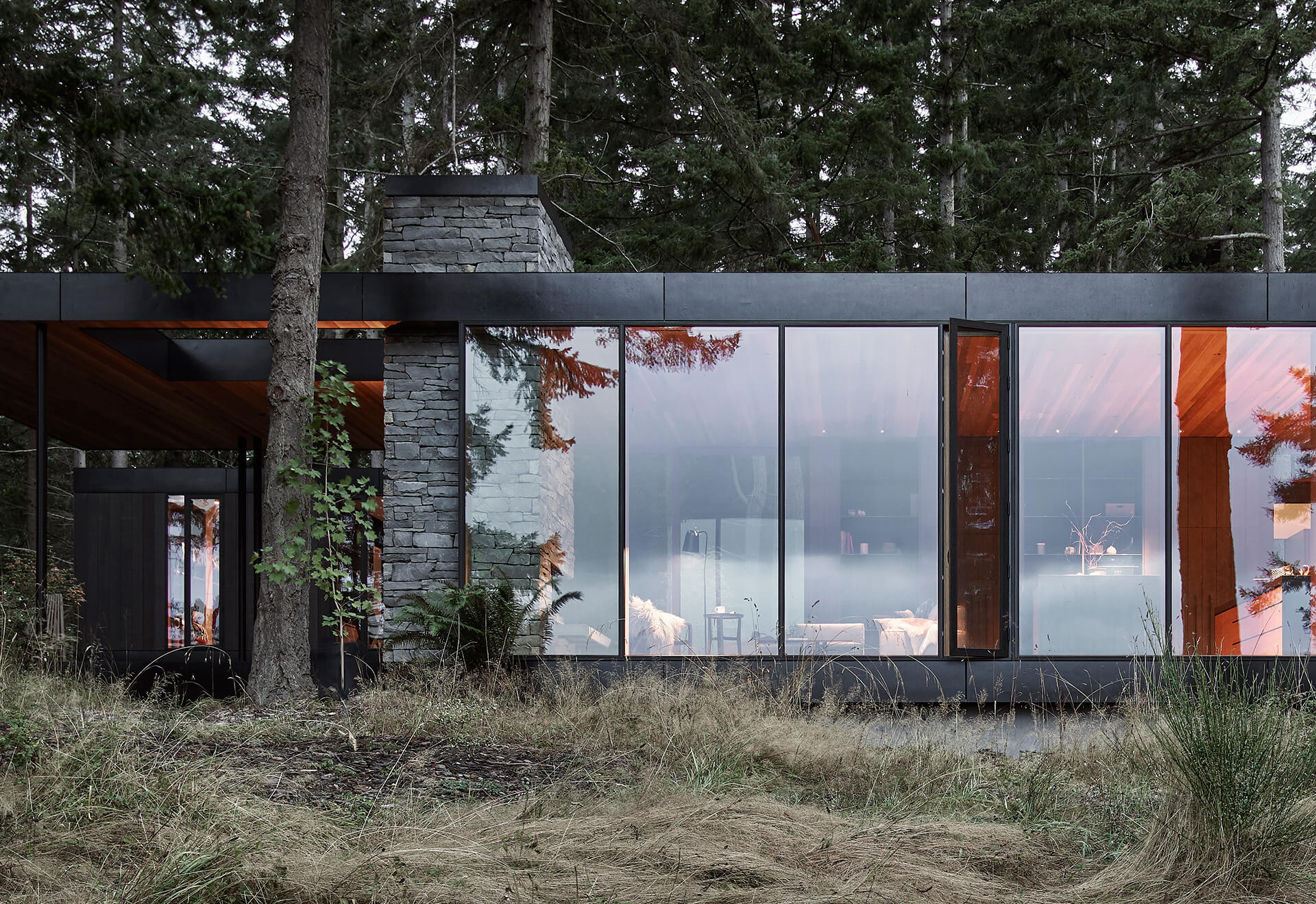 Building facade showing material interaction | Whidbey Island Farm Retreat by Mwworks | STIRworld
