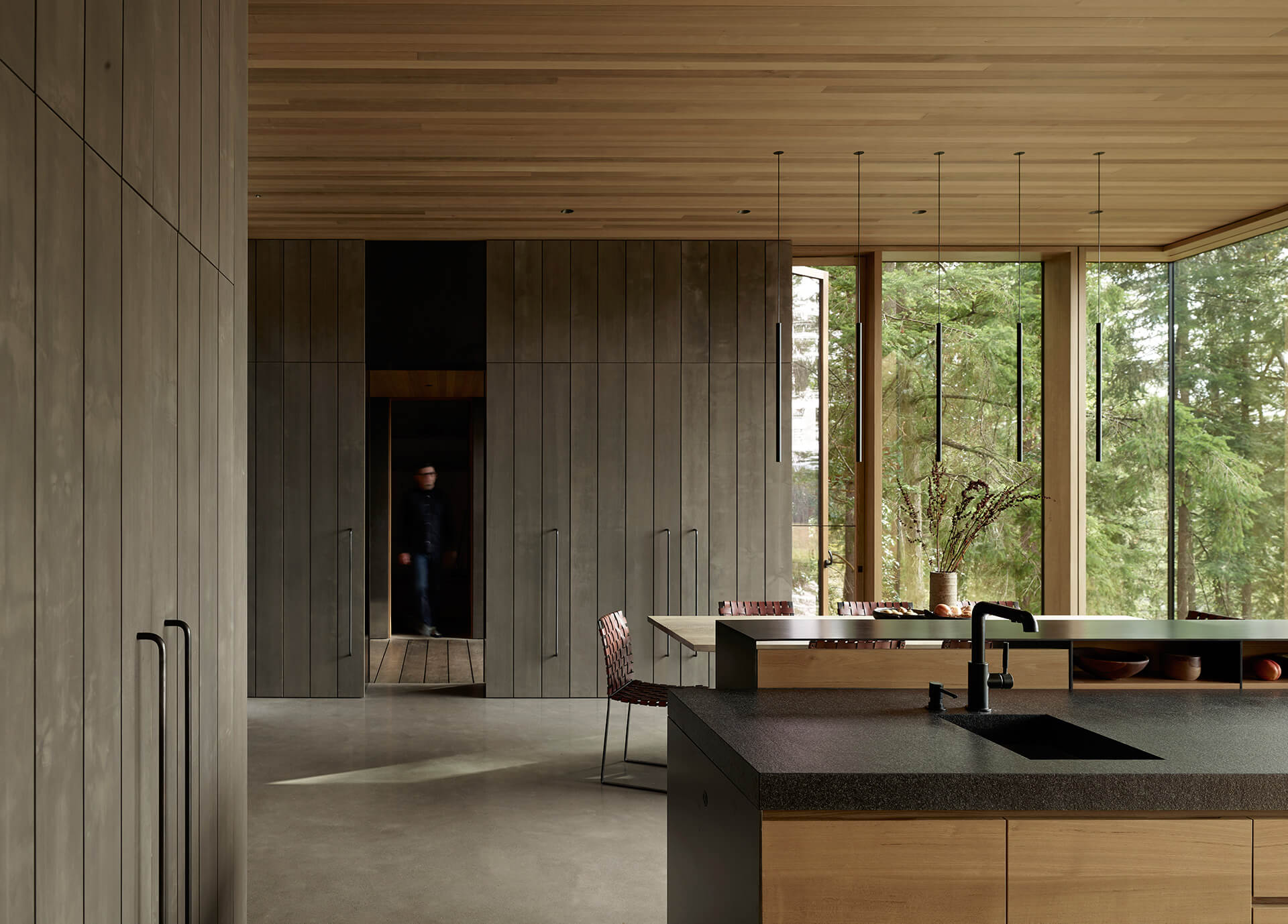 Light wooden material palette employed for Whidbey Island Farm Retreat's interiors | Whidbey Island Farm Retreat by Mwworks | STIRworld