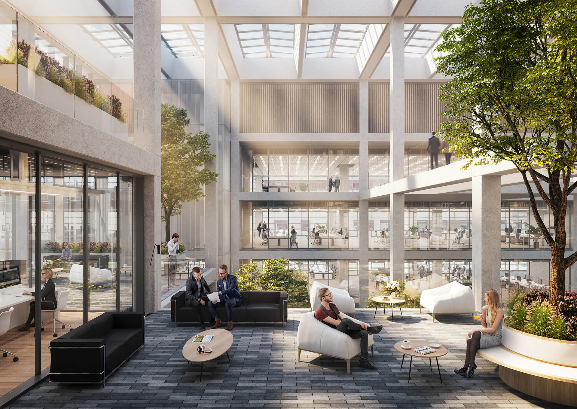 The structural grid and fluid internal spaces that allow openness and interaction at all levels | Icône office complex | Foster + Partners | STIRworld