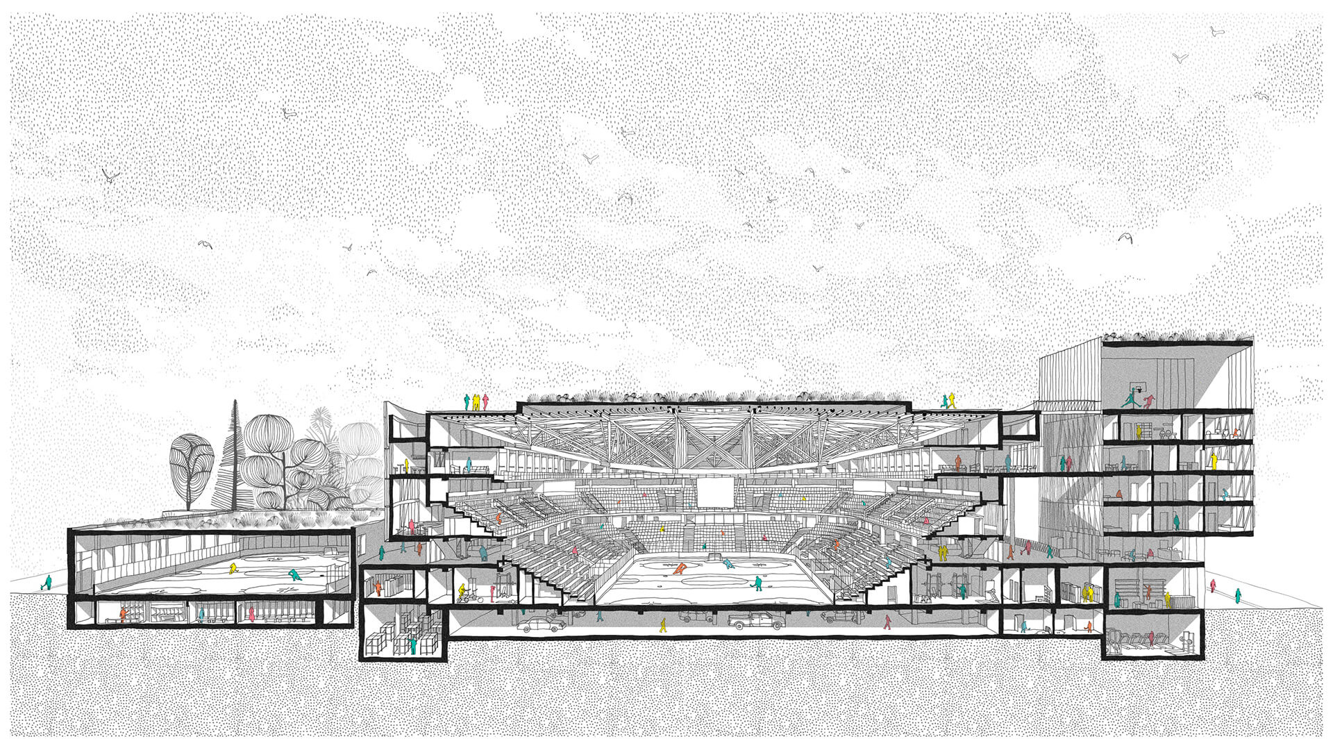 Perspective section showing CHYBIK + KRISTOF'S vision for the project | Jihlava Multipurpose Arena in Czech Republic by CHYBIK + KRISTOF | STIRworld