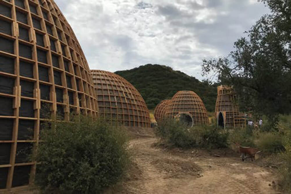 A 2018 image of the Yeezy Home prototypes under construction | Yeezy Home by Kanye West| STIRworld