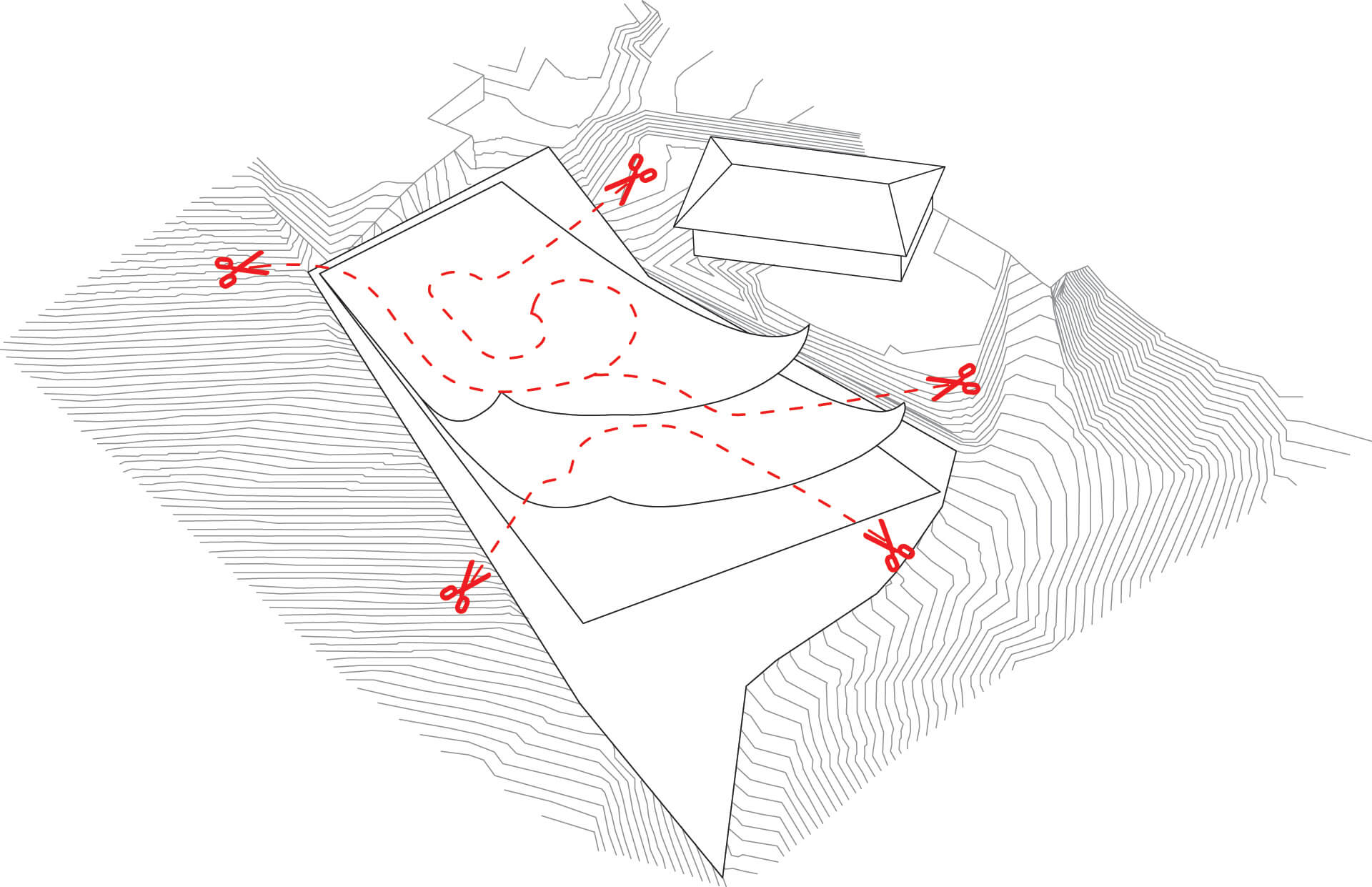 Diagram illustrating how existing contour lines have been cut | Atelier Alice Trepp by Mino Caggiula Architects | STIRworld