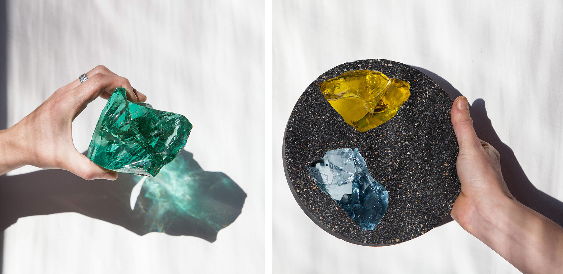 Reusing leftover or defected pieces of glass from different sources, the duo embeds these pieces in a pigmented cement mixture to create unique compositions | Basis Rho by Jeschkelanger | STIRworld