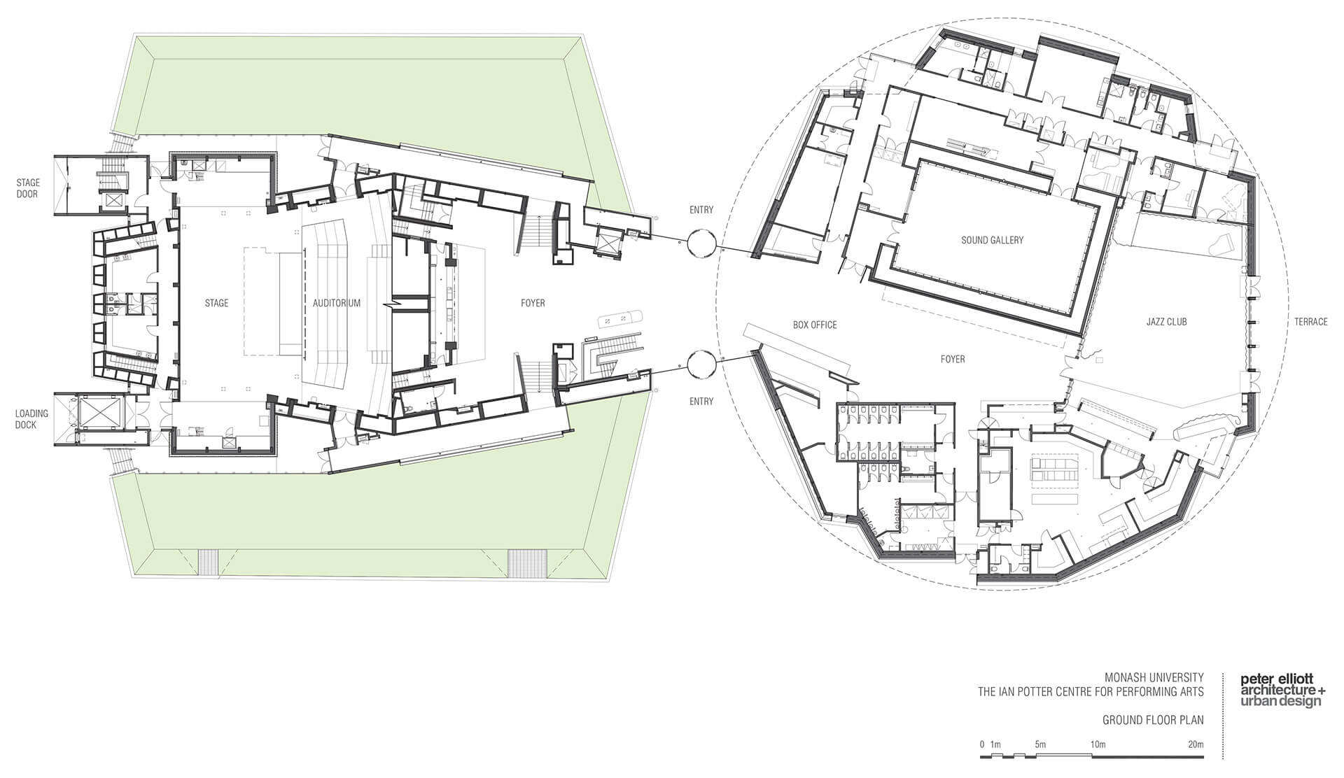 Ground floor plan | Ian Potter Center for Performing Arts | Peter Elliot Architecture + Urban Design | STIRworld