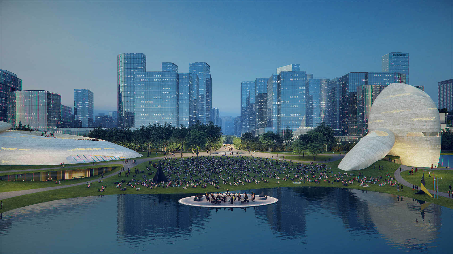 The monumental stone pavilions positioned on opposite sides of the expanse |Shenzhen Bay Culture Park by MAD | STIRworld