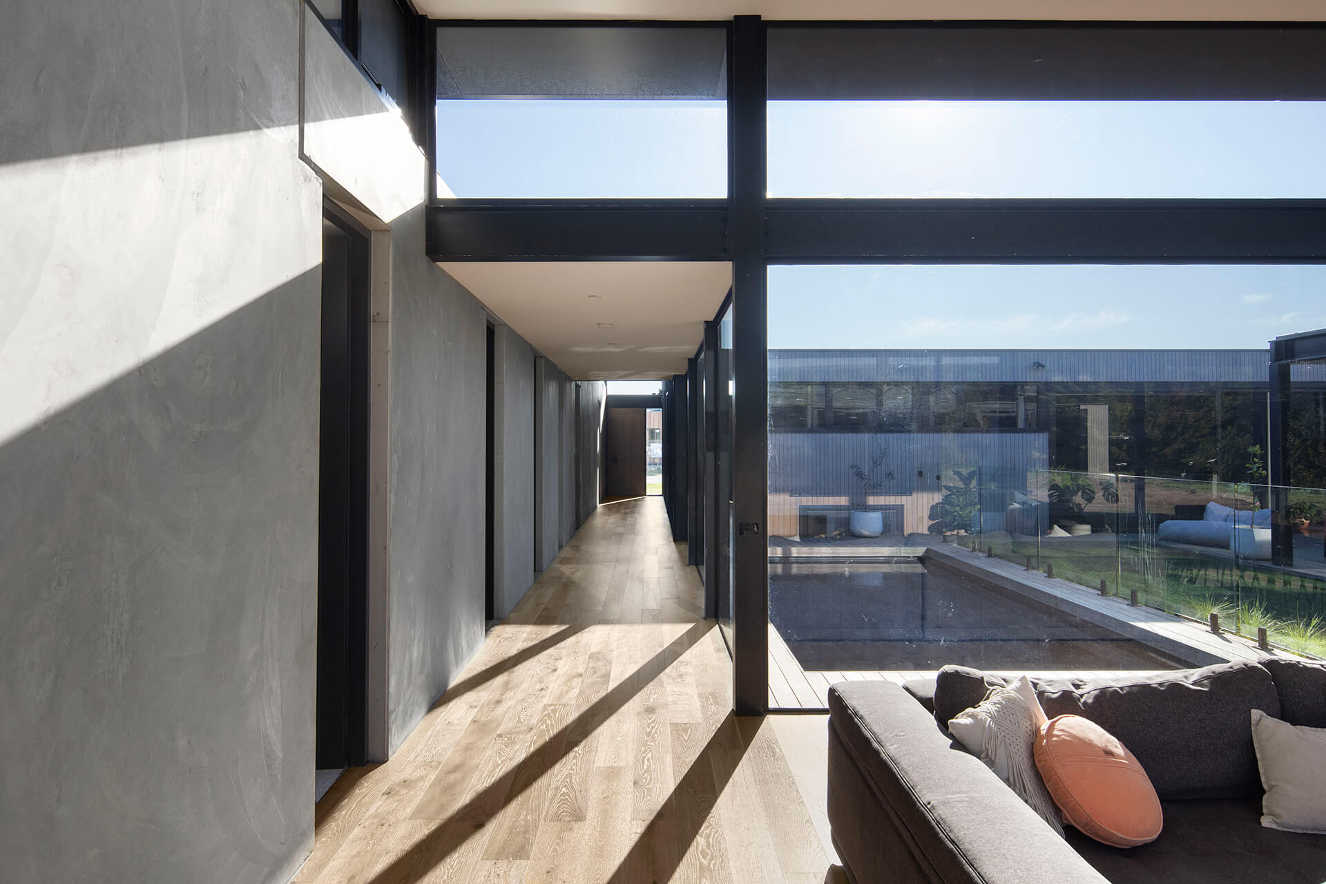 The swimming pool and the courtyard through the full height glazing | Cashmore House | Lachlan Shepherd Architects | STIRworld