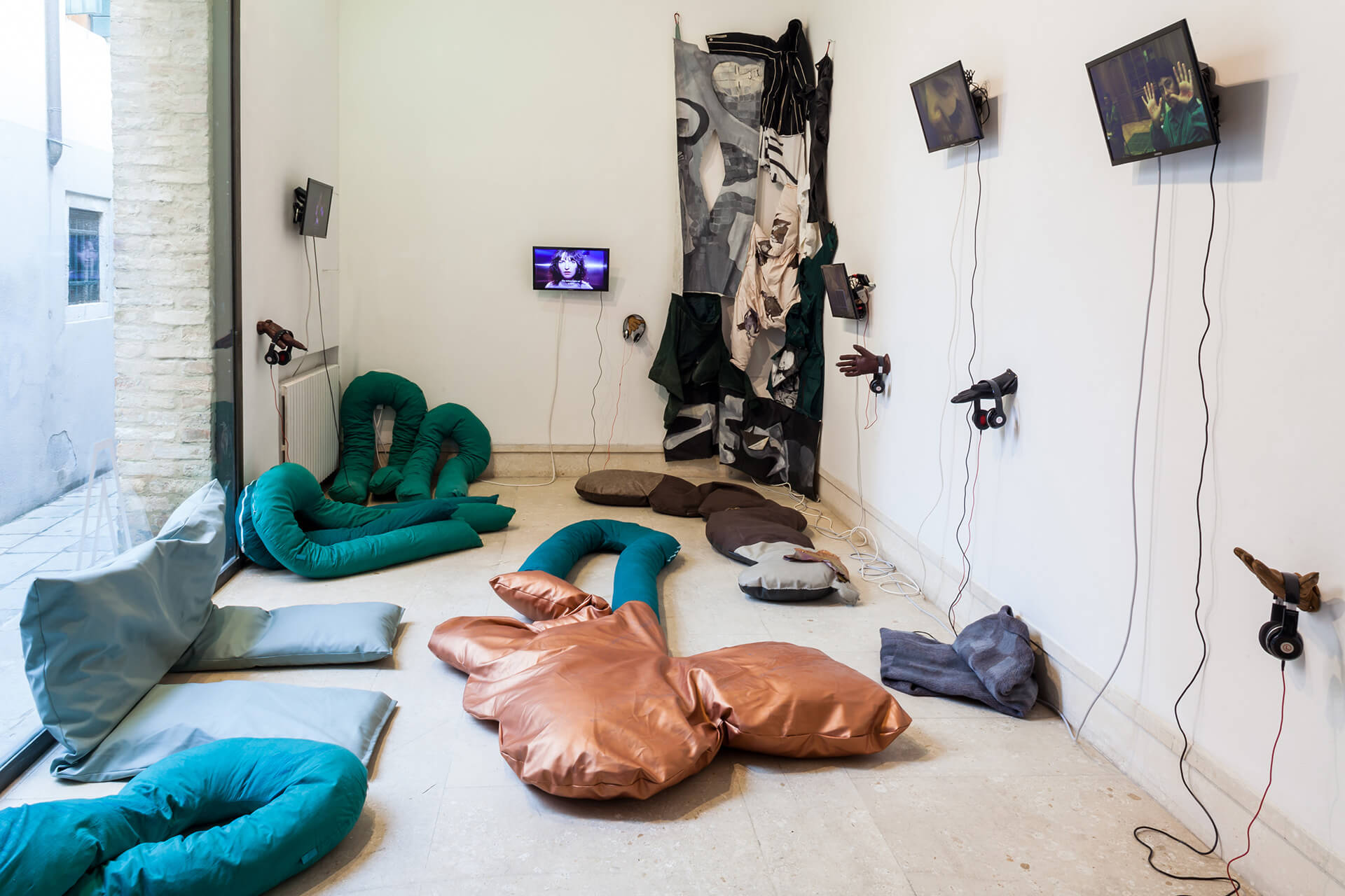 Installation view of Liv Schulman's solo show, An international subconscious awareness of capitalism at A plus A Gallery in the beginning of 2020| Venice reopens post COVID-19 lockdown | STIRworld
