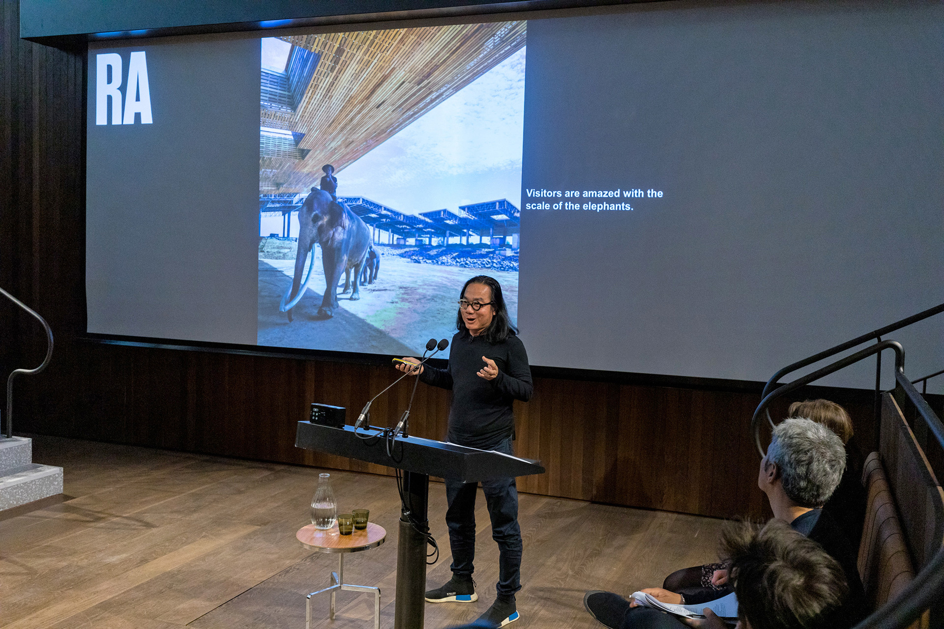 Boonserm Premthada, founder of Bangkok Project Studio, presenting Elephant World to a public audience at the Royal Academy | Royal Academy of Arts Architecture Awards| STIR