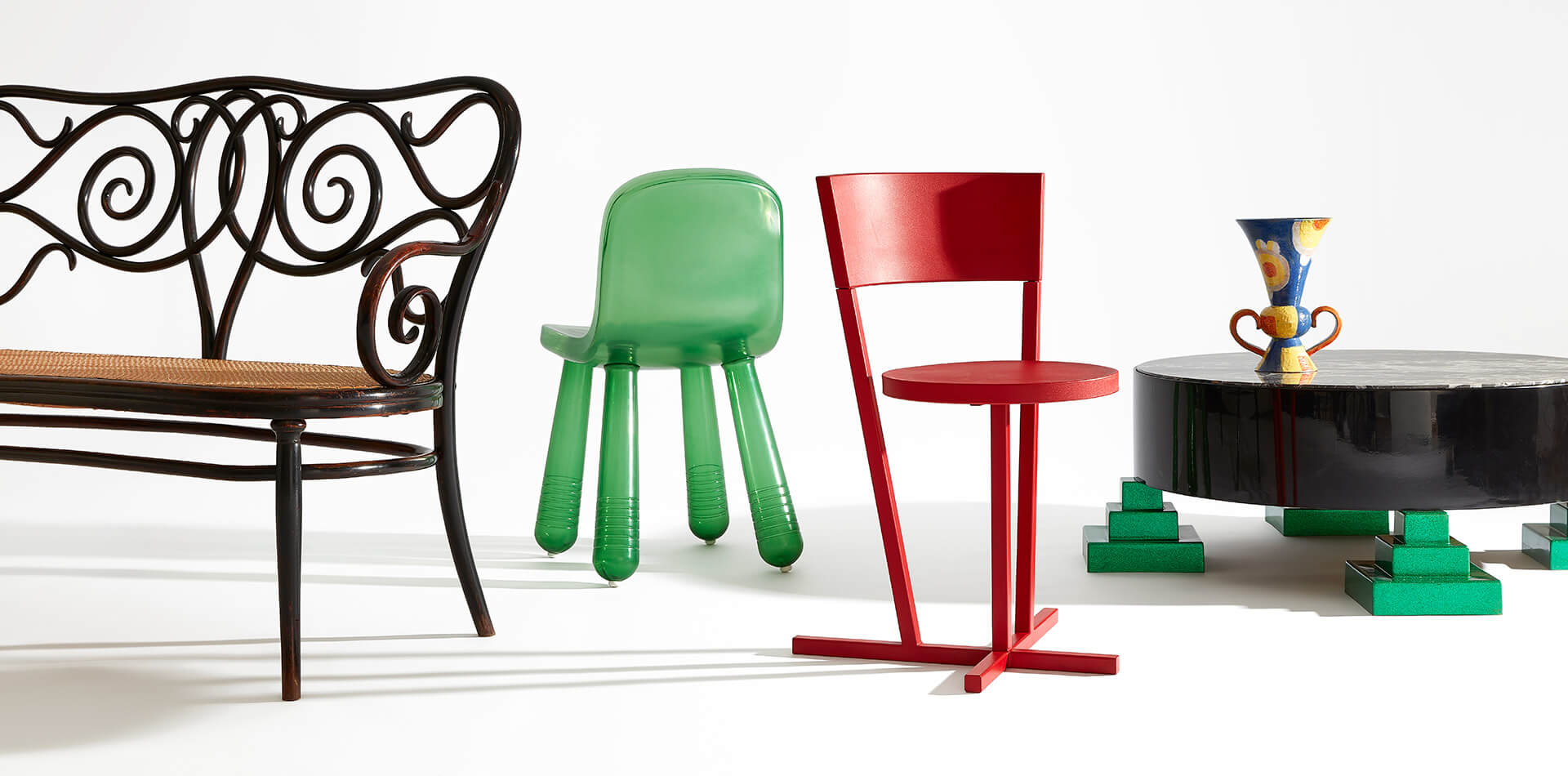 A collection of furniture design items on display at Stedelijk Museum's From Thonet to Dutch Design exhibition | From Thonet to Dutch Design – 125 years of living at the Stedelijk Museum Amsterdam | STIRworld