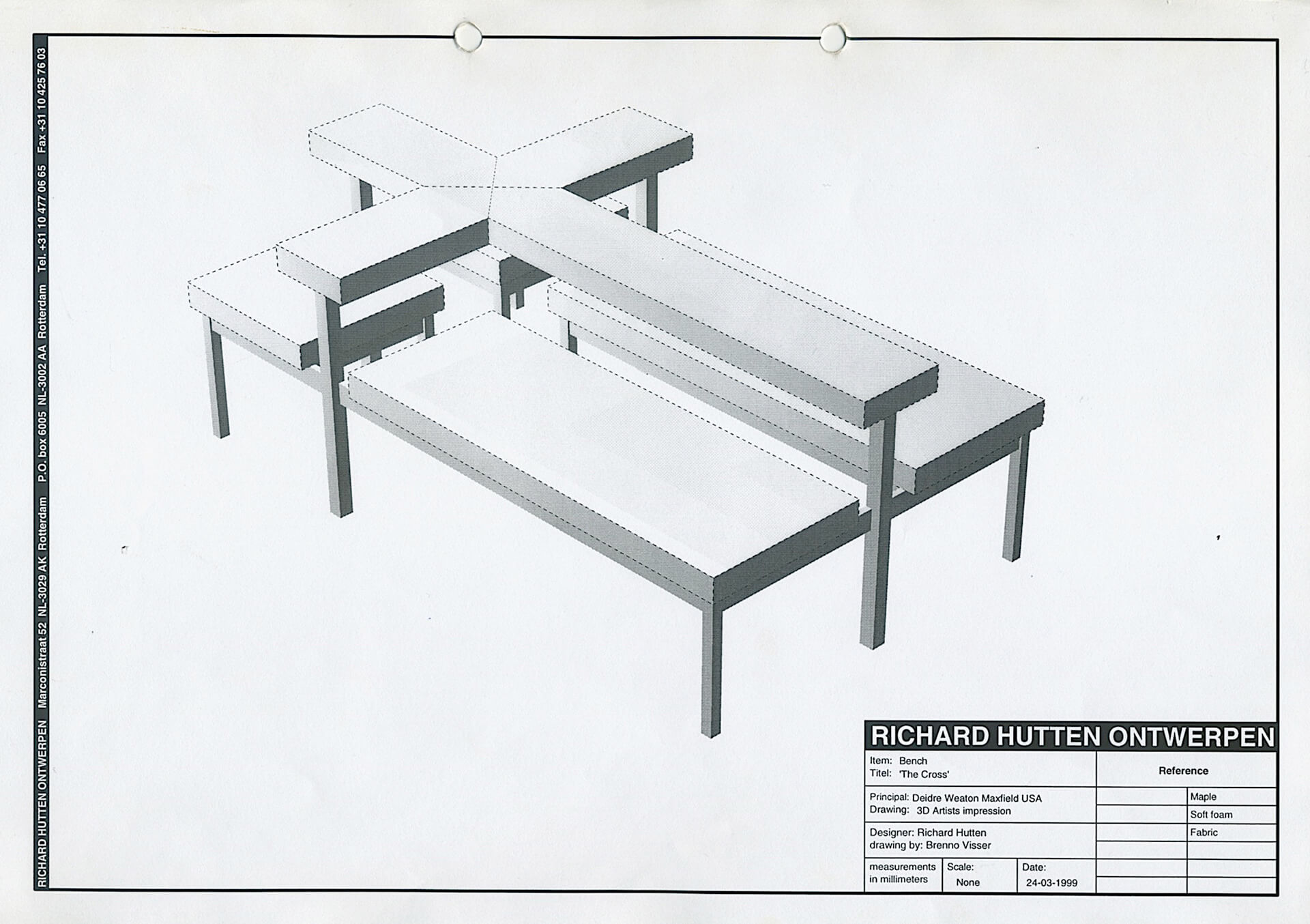 Drawing of Richard Hutten's bench – 'The Cross' | From Thonet to Dutch Design – 125 years of living at the Stedelijk Museum Amsterdam | STIRworld