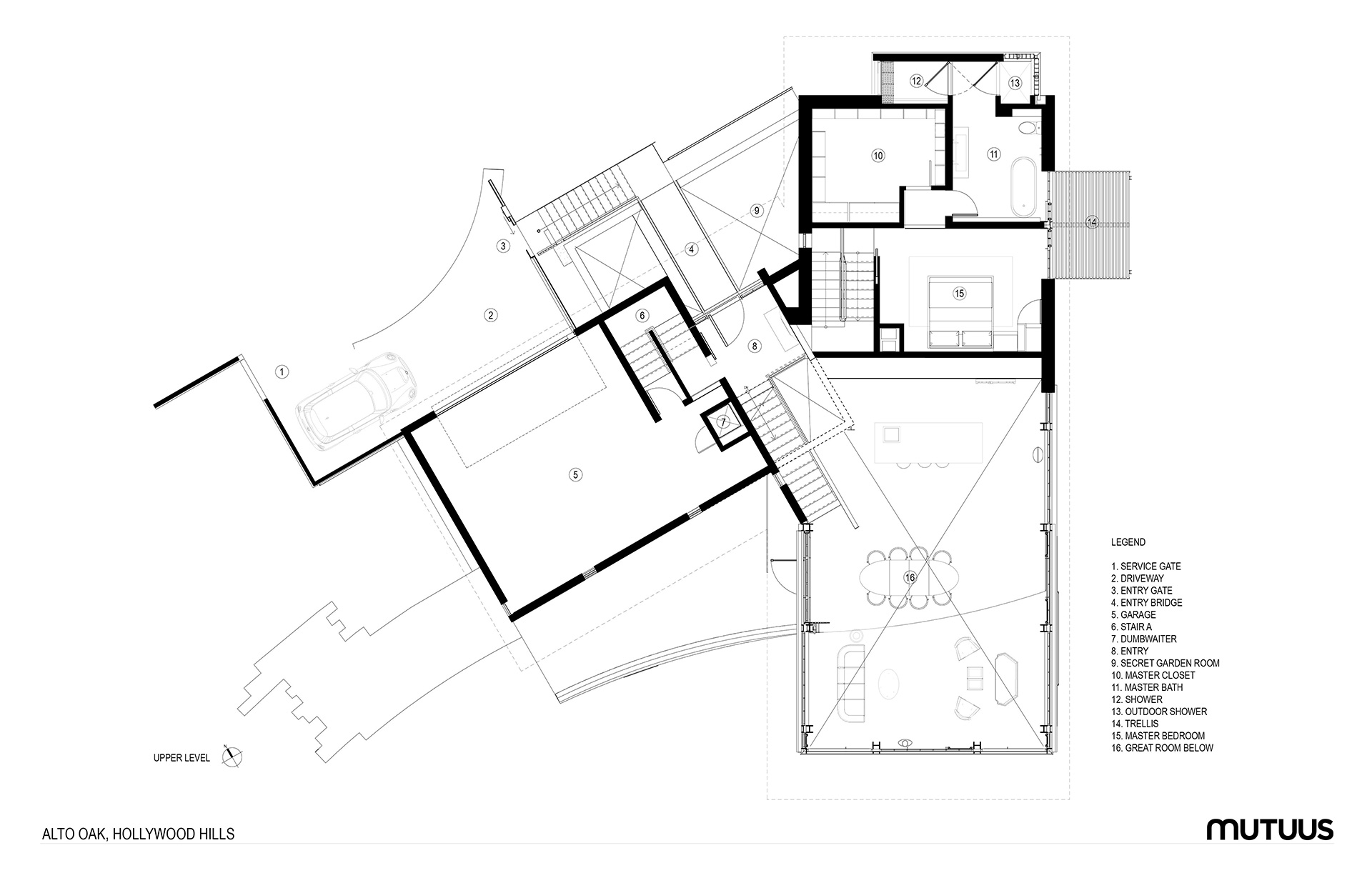 Upper Level Plan| Hollywood Hill House | Mutuus Studio | STIRworld