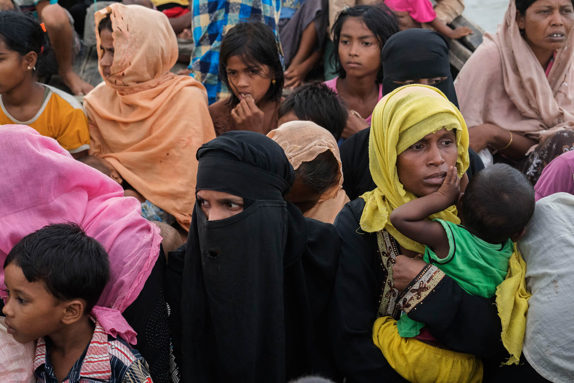 Rohingya refugees from Myanmar who arrived in Bangladesh the previous night, crossing over by boat to Teknaf | Shahidul Alam | World Photography Day | STIRworld