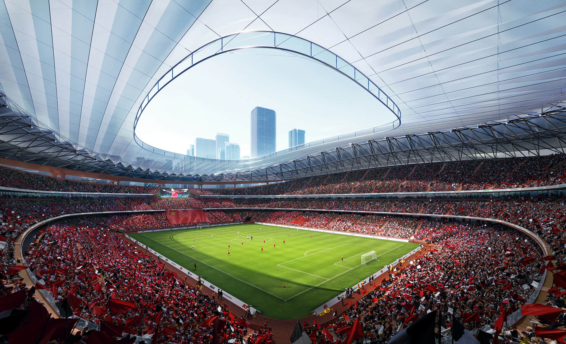 The stadium holds space for 60,000 football fans | Xi'an International Football Center | Zaha Hadid Architects | STIRworld