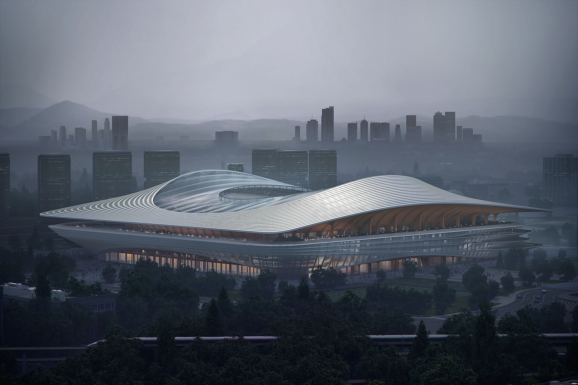 A digitally designed saddle shape has been generated for this project | Xi'an International Football Center | Zaha Hadid Architects | STIRworld