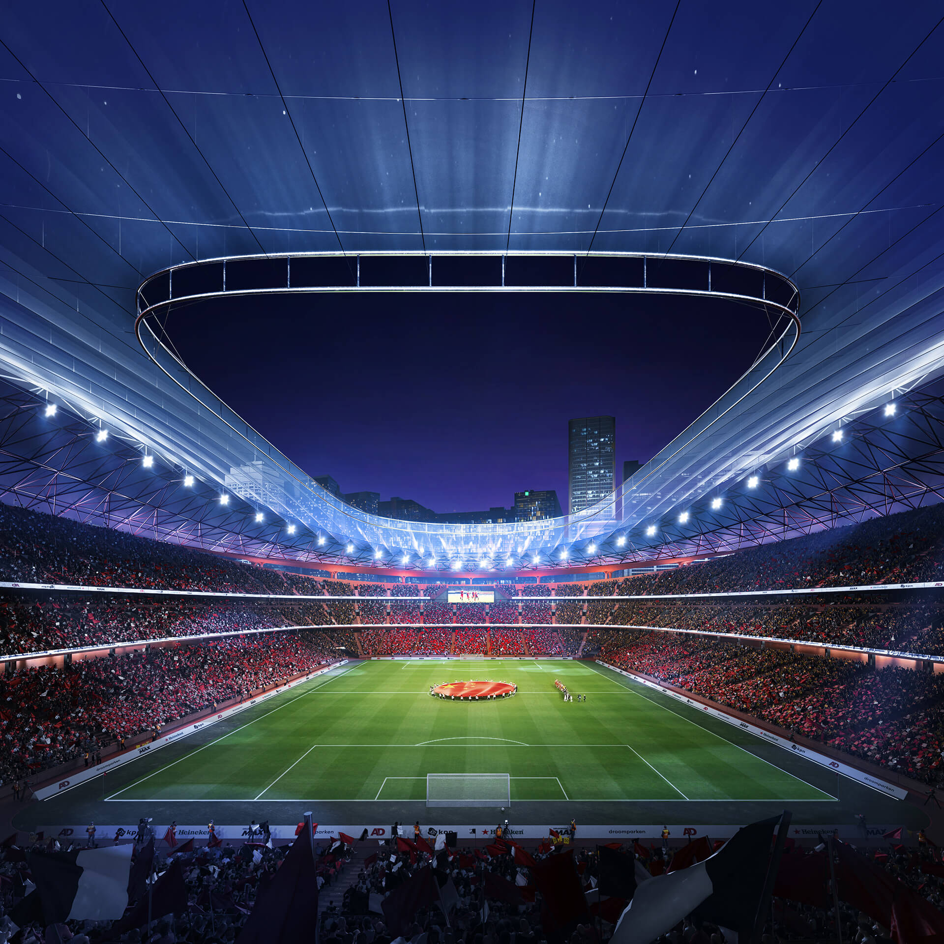 The roof offers optimum protection to spectators from the harsh climate | Xi'an International Football Center | Zaha Hadid Architects | STIRworld