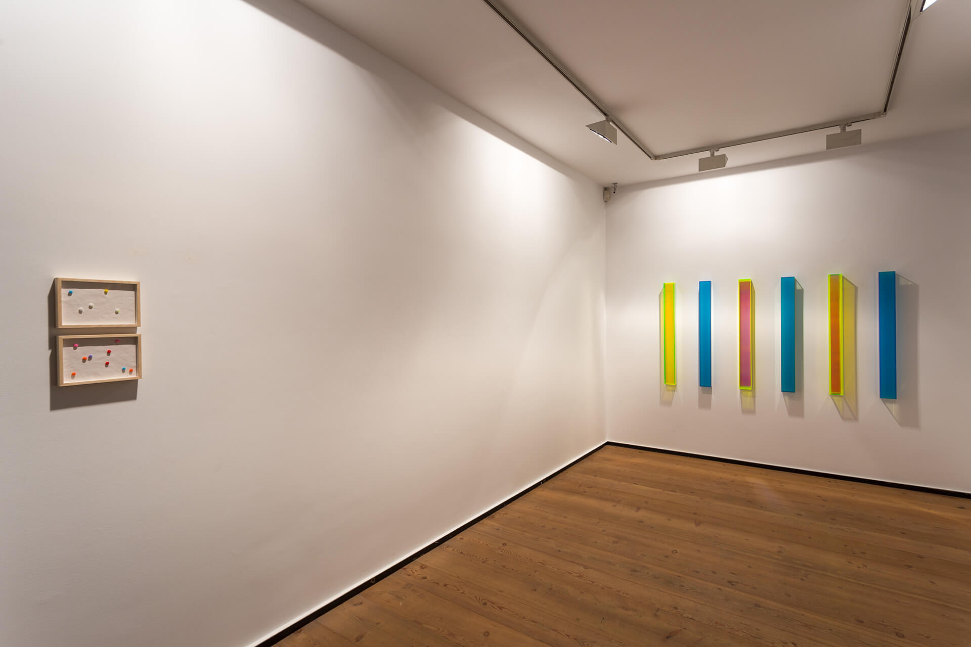 From left to right: 'coloured shadows' (2019) and 'color rainbow and satin brüssel' | Push Borders | Regine Schumann | STIRworld