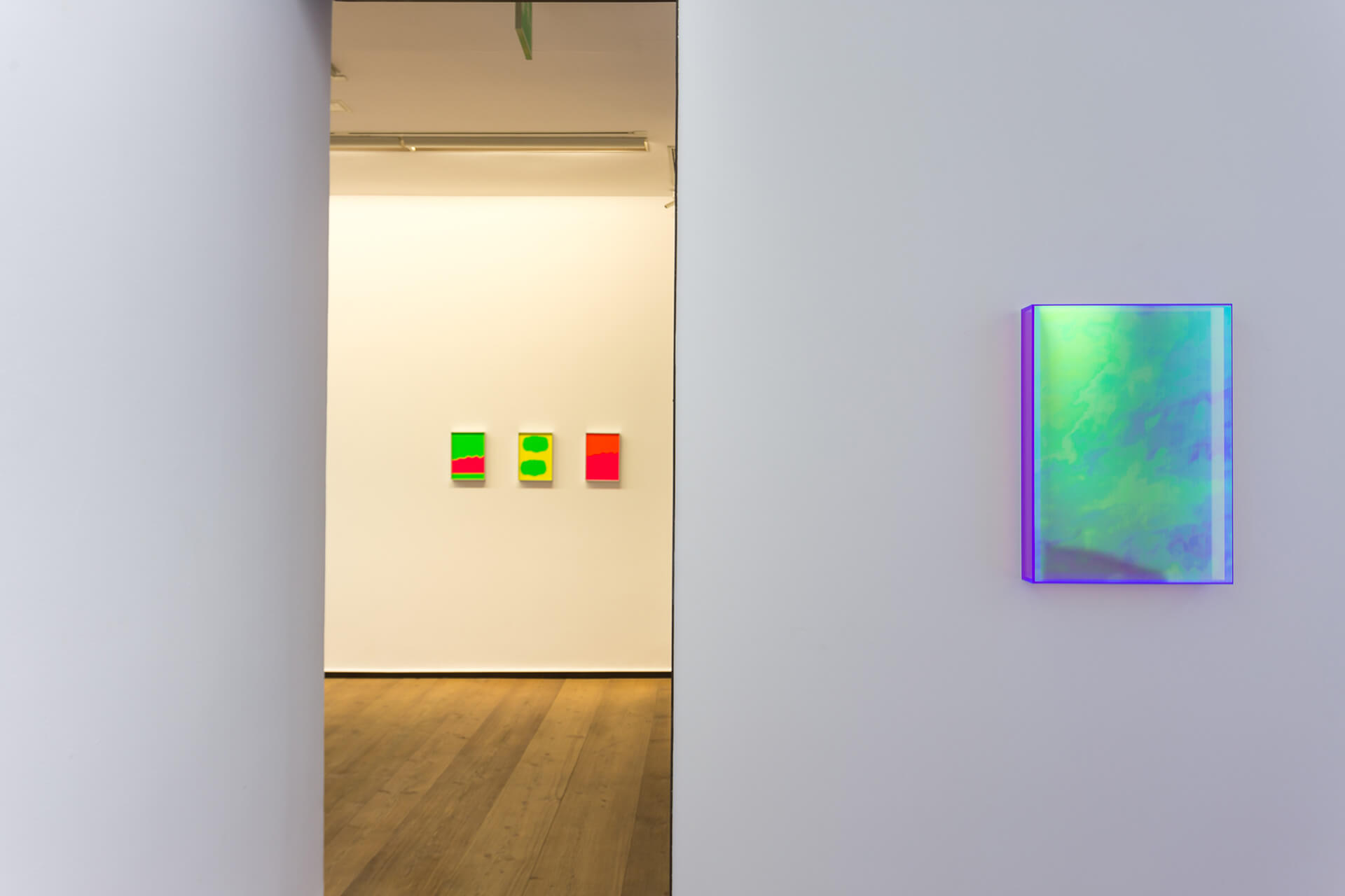'color rainbow violet violet ontario' (2019) in the foreground with 'sin título' | Push Borders | Regine Schumann | STIRworld
