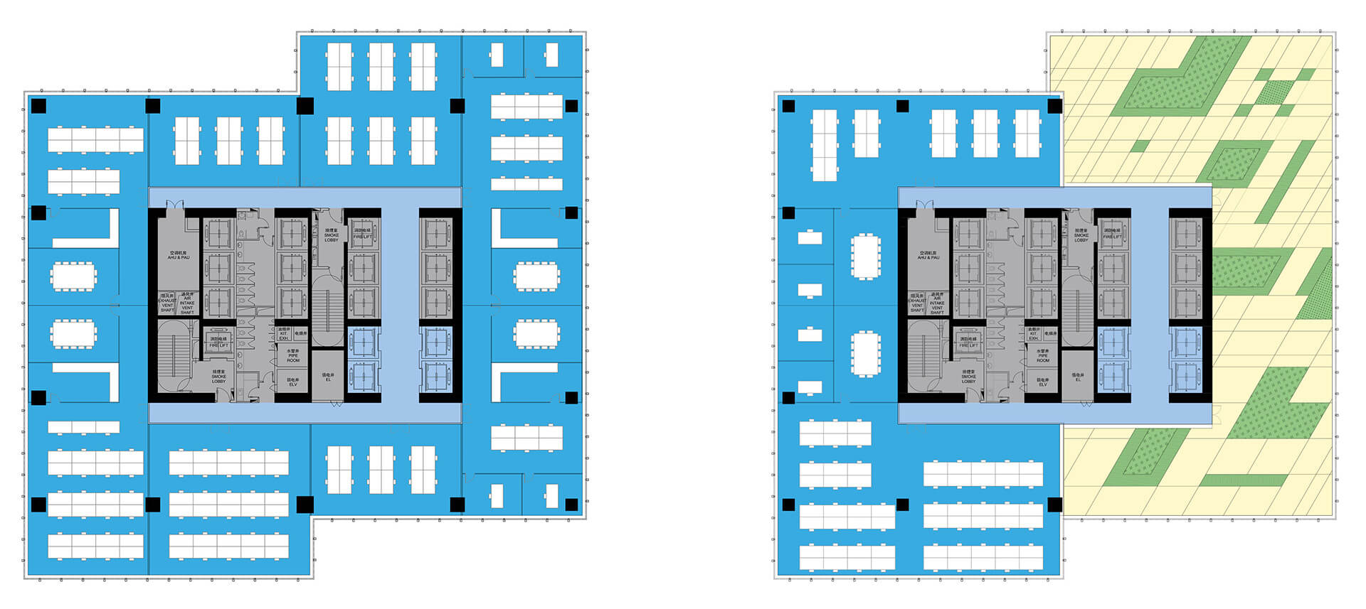 Floor plans of the office spaces | Prince Plaza | OMA | STIRworld