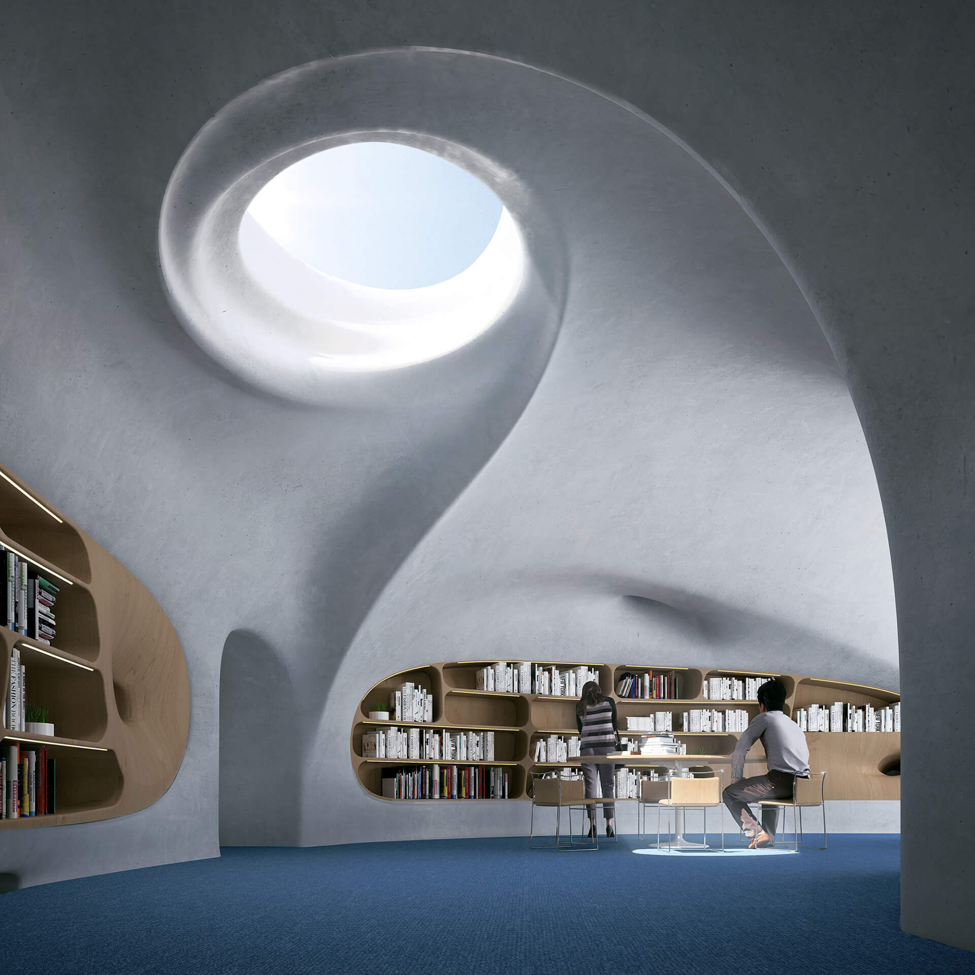 A mixture of concrete and wood will decorate the interiors | Wormhole Library by MAD Architects | STIRworld