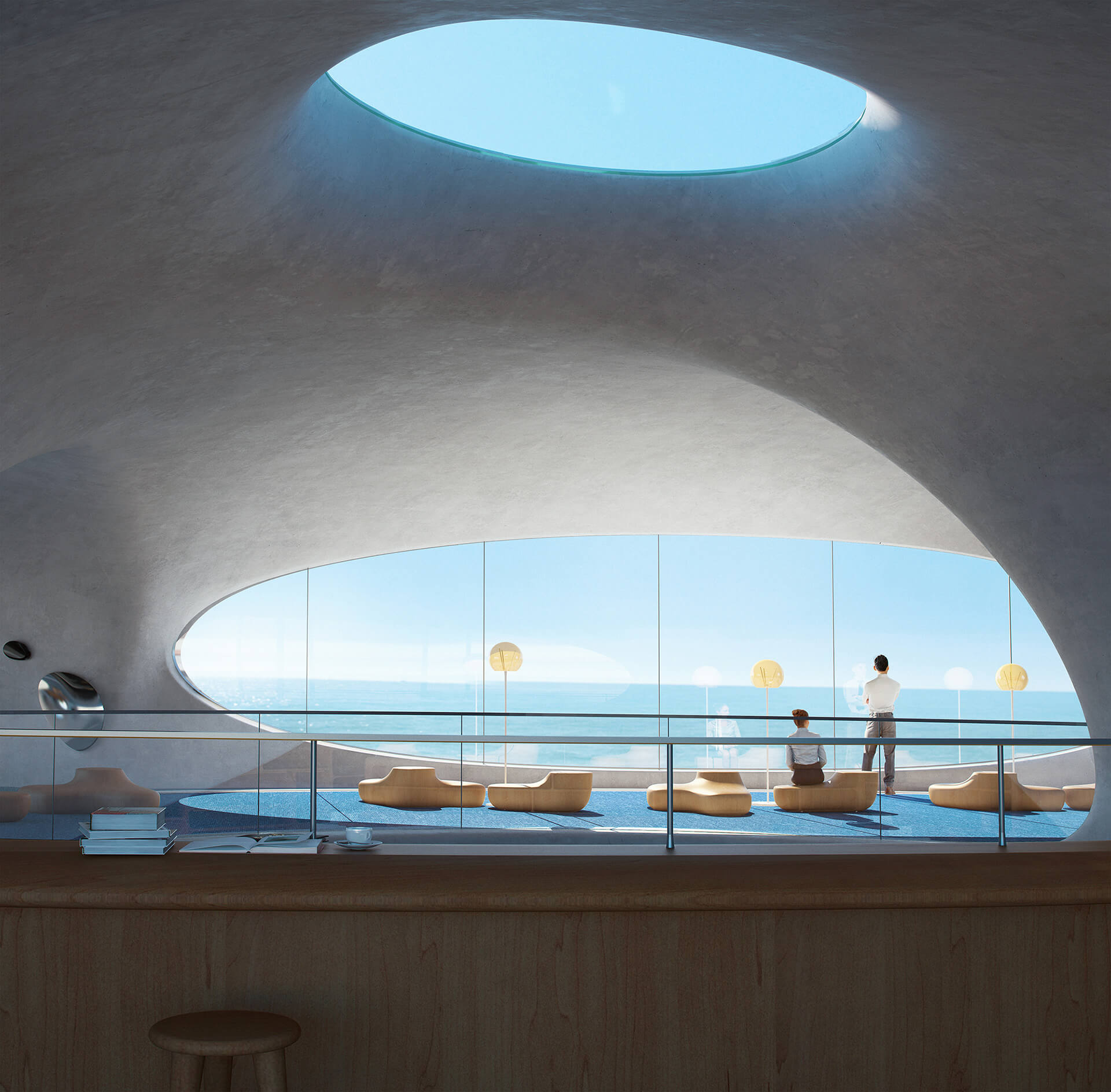 Visitors can enjoy unobstructed views of the sea | Wormhole Library | MAD Architects | STIRworld