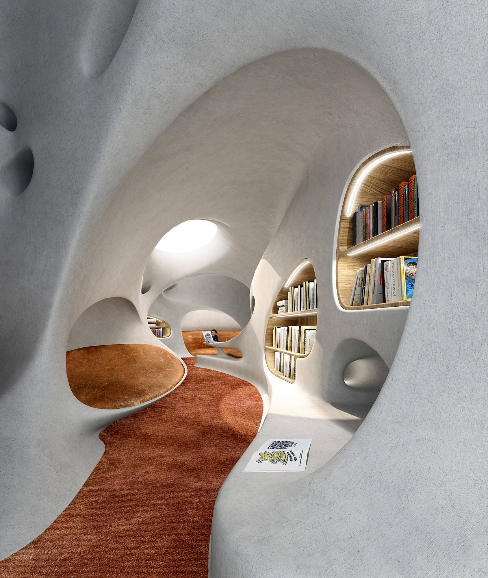 The swooping curves create playful interior spaces | Wormhole Library by MAD Architects | STIRworld