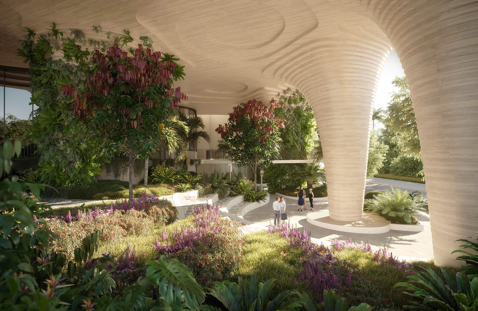 Inside the public park on the ground floor of Urban Forest | Urban Forest by Koichi Takada Architects | STIRworld