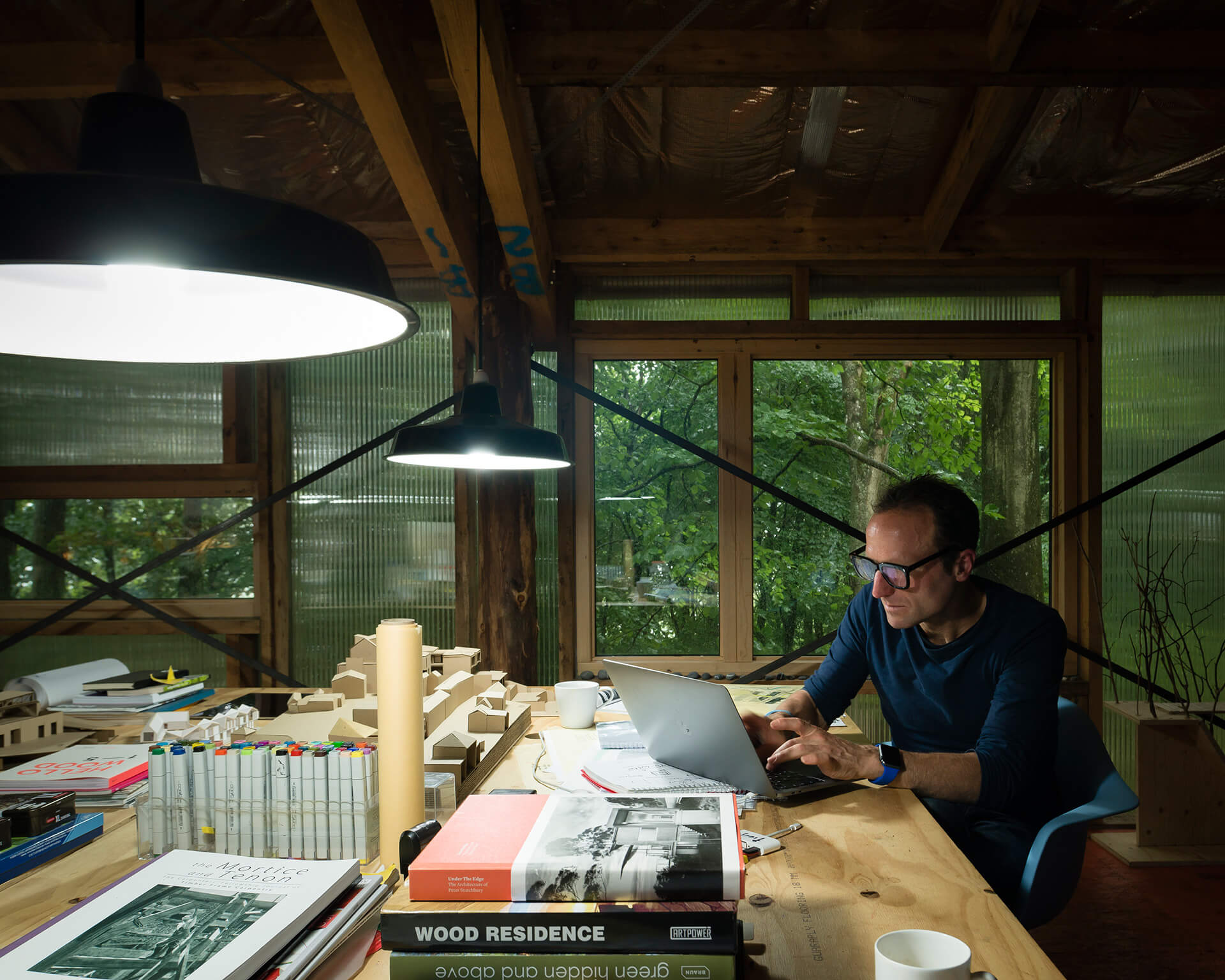 Piers Taylor at his Invisible Studio in the UK, which he believes is his 'studio in the woods' | Practice – Invisible Studio | Jim Stephenson and Laura Mark| STIRworld