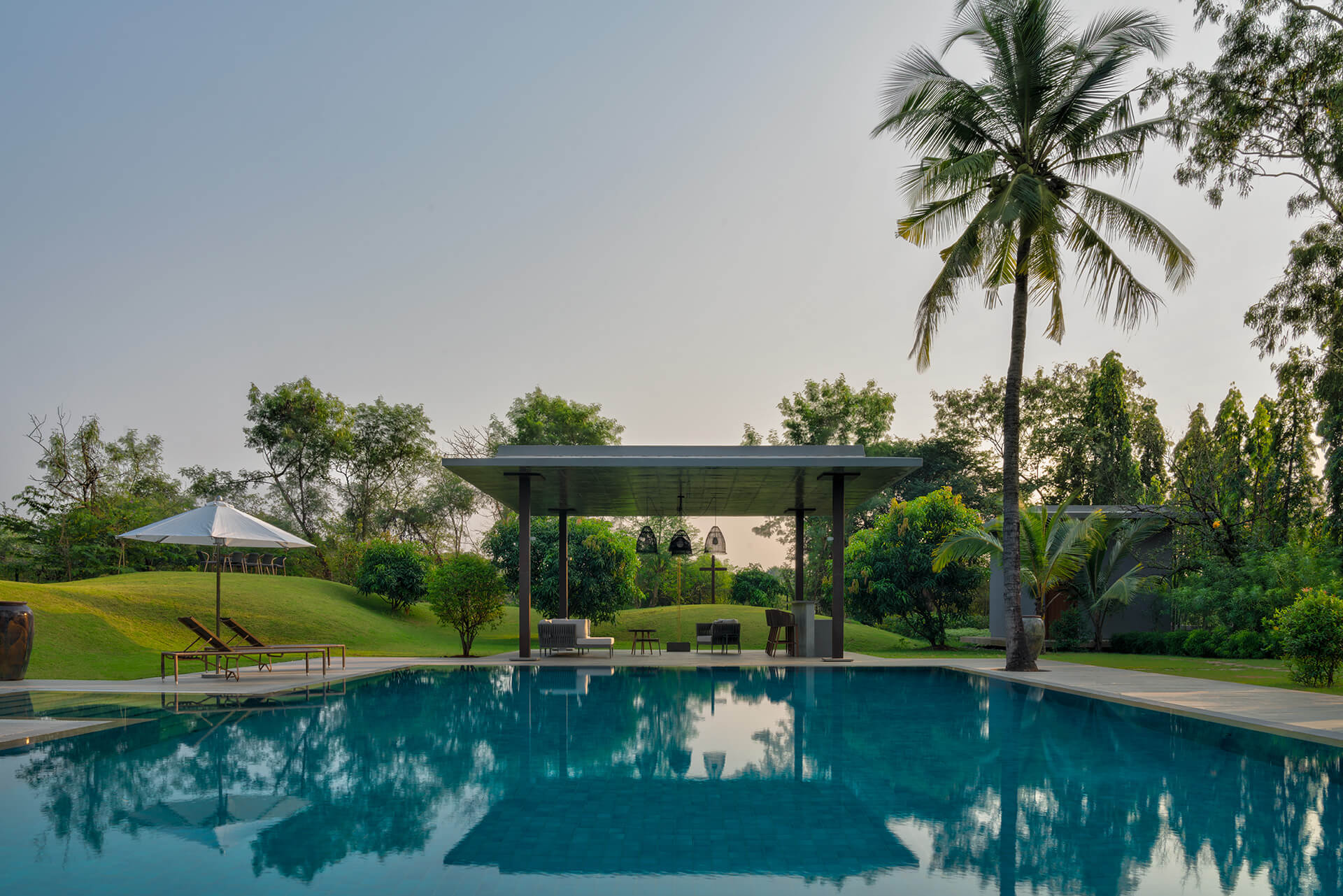 The swimming pool and the gazebo | Uminoya – Weekend home in Alibaug | Clay Architecture and Interiors | STIRworld