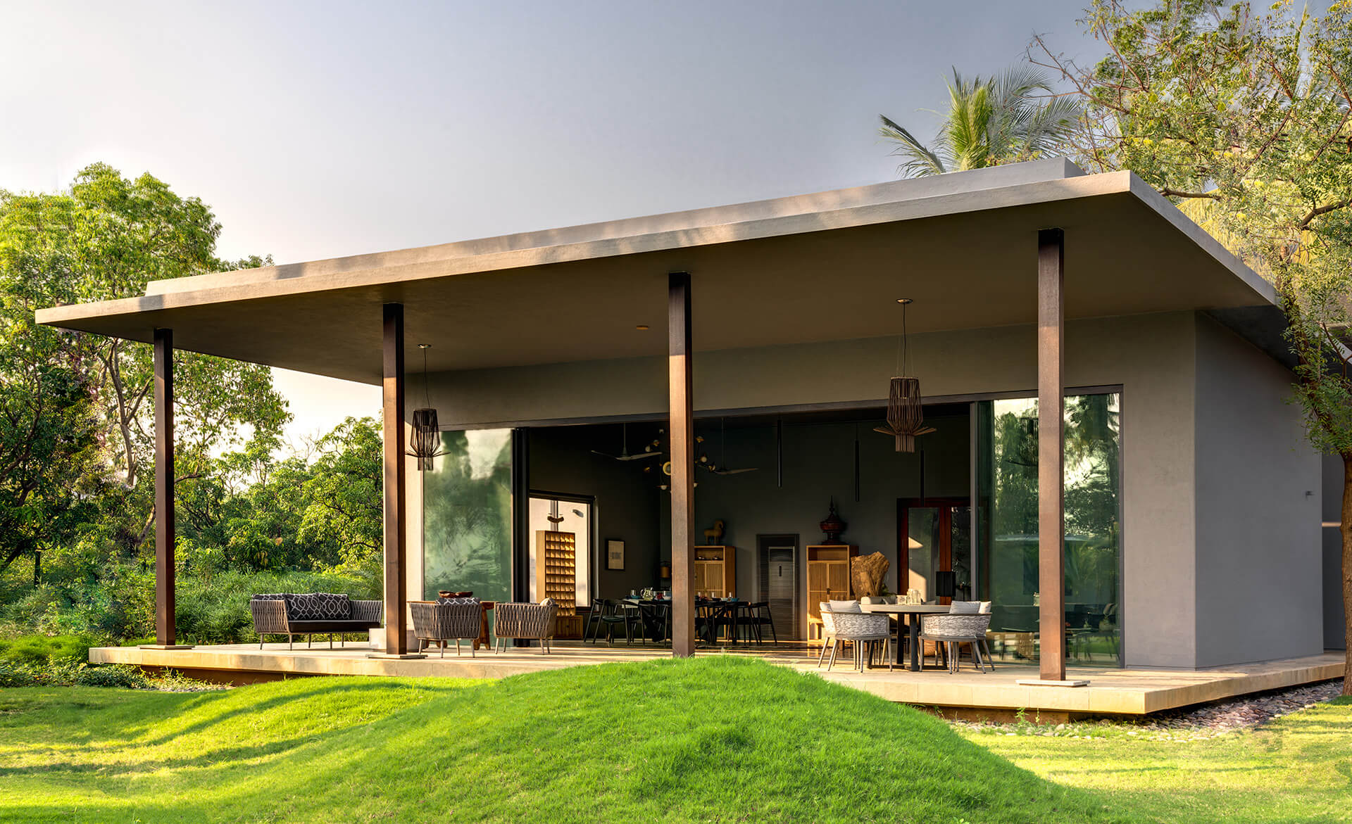 The living room that spills out into the semi-open space | Uminoya – Weekend home in Alibaug | Clay Architecture and Interiors | STIRworld