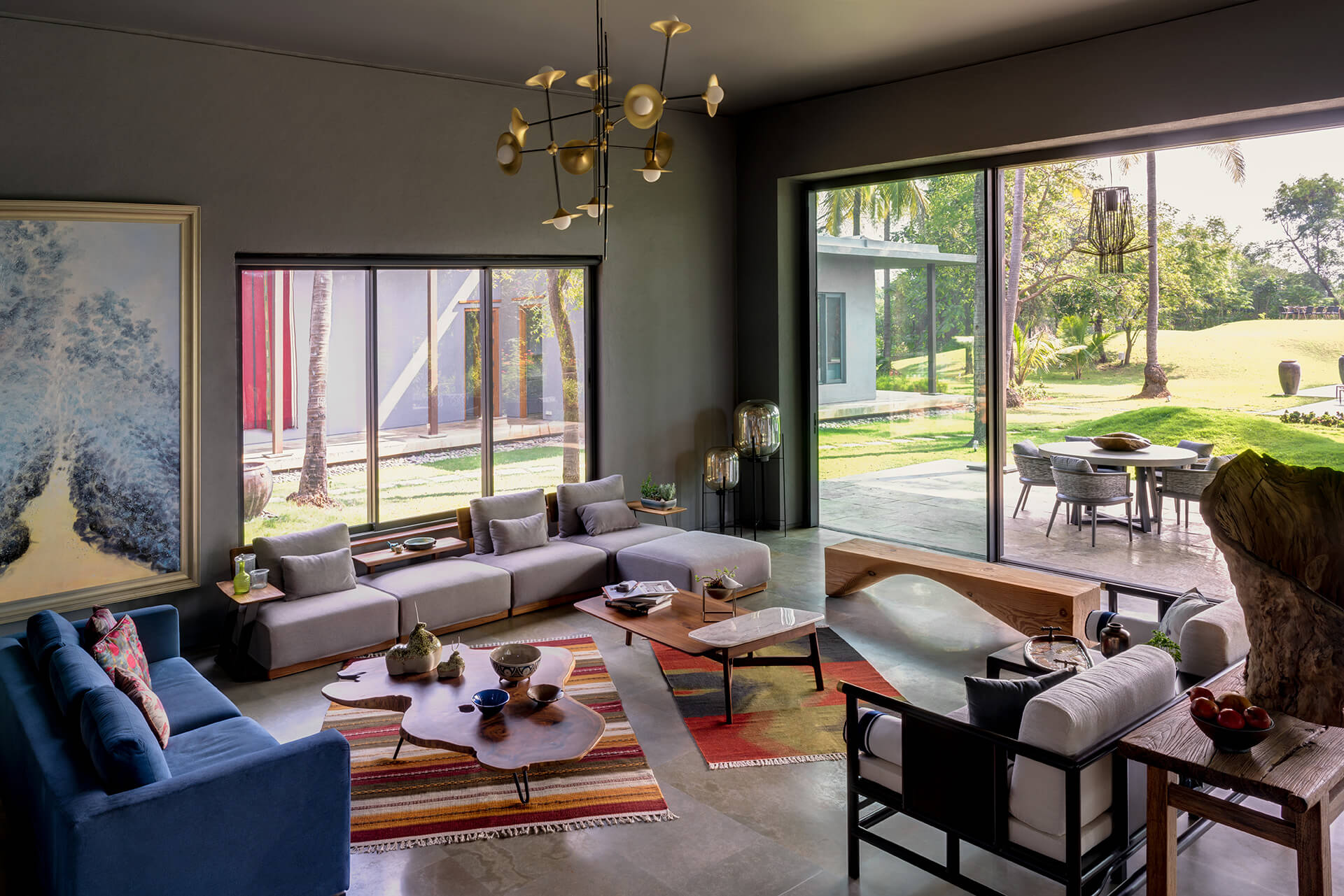 The interior lounge spaces | Uminoya – Weekend home in Alibaug | Clay Architecture and Interiors | STIRworld