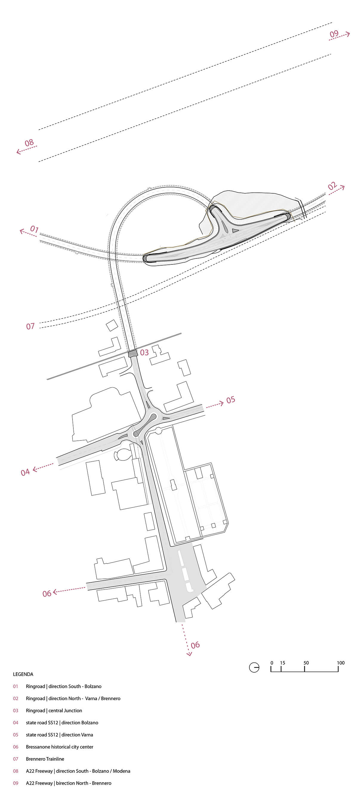 The plan of the Bressanone-Varna Entry Portal Ring Road | Bressanone-Varna Entry Portal Ring Road by Modus Architects | STIRworld