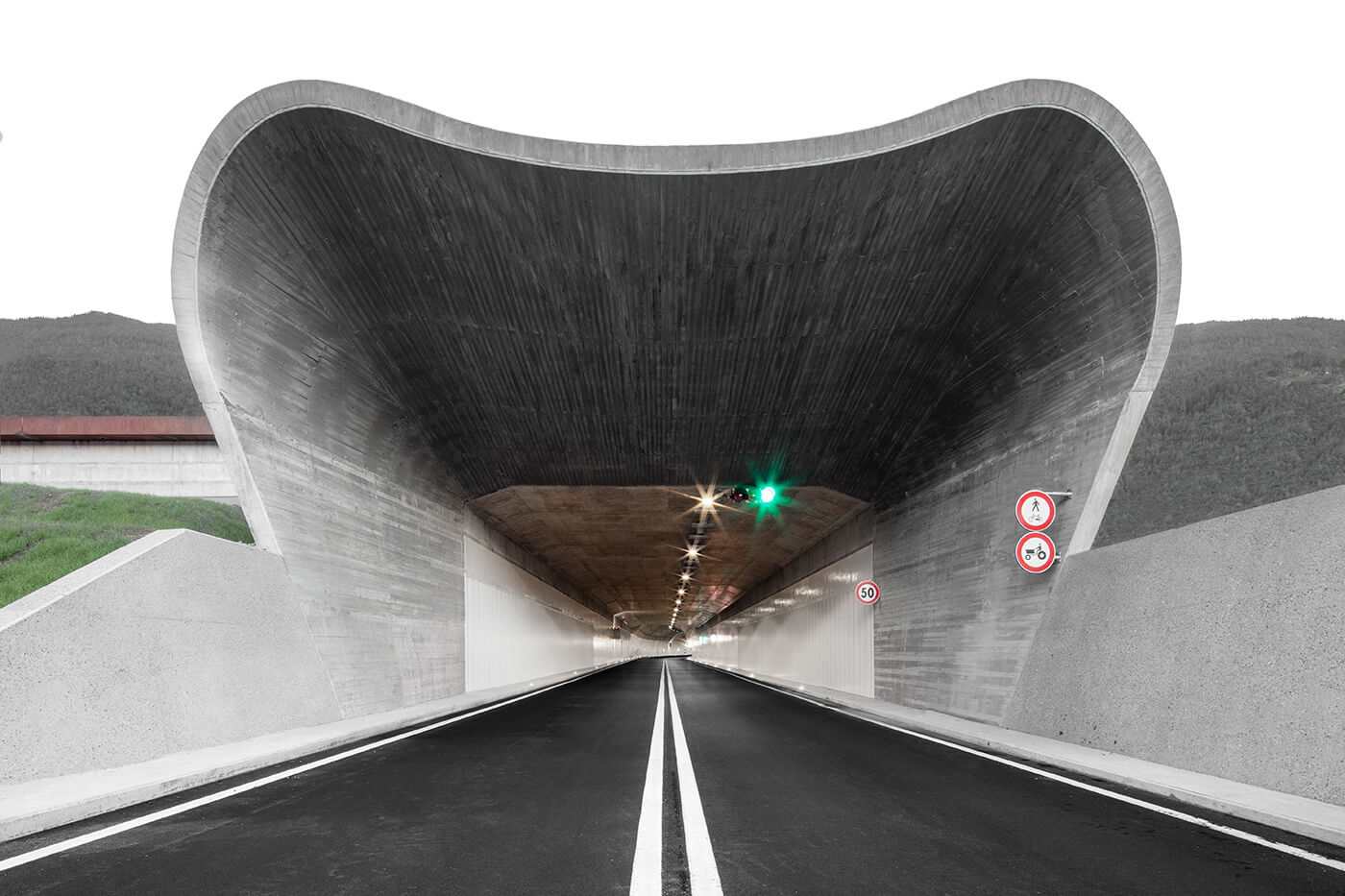 The sculptural Central Juncture Tunnel portal out of Bressanone city center | Bressanone-Varna Entry Portal Ring Road by Modus Architects | STIRworld