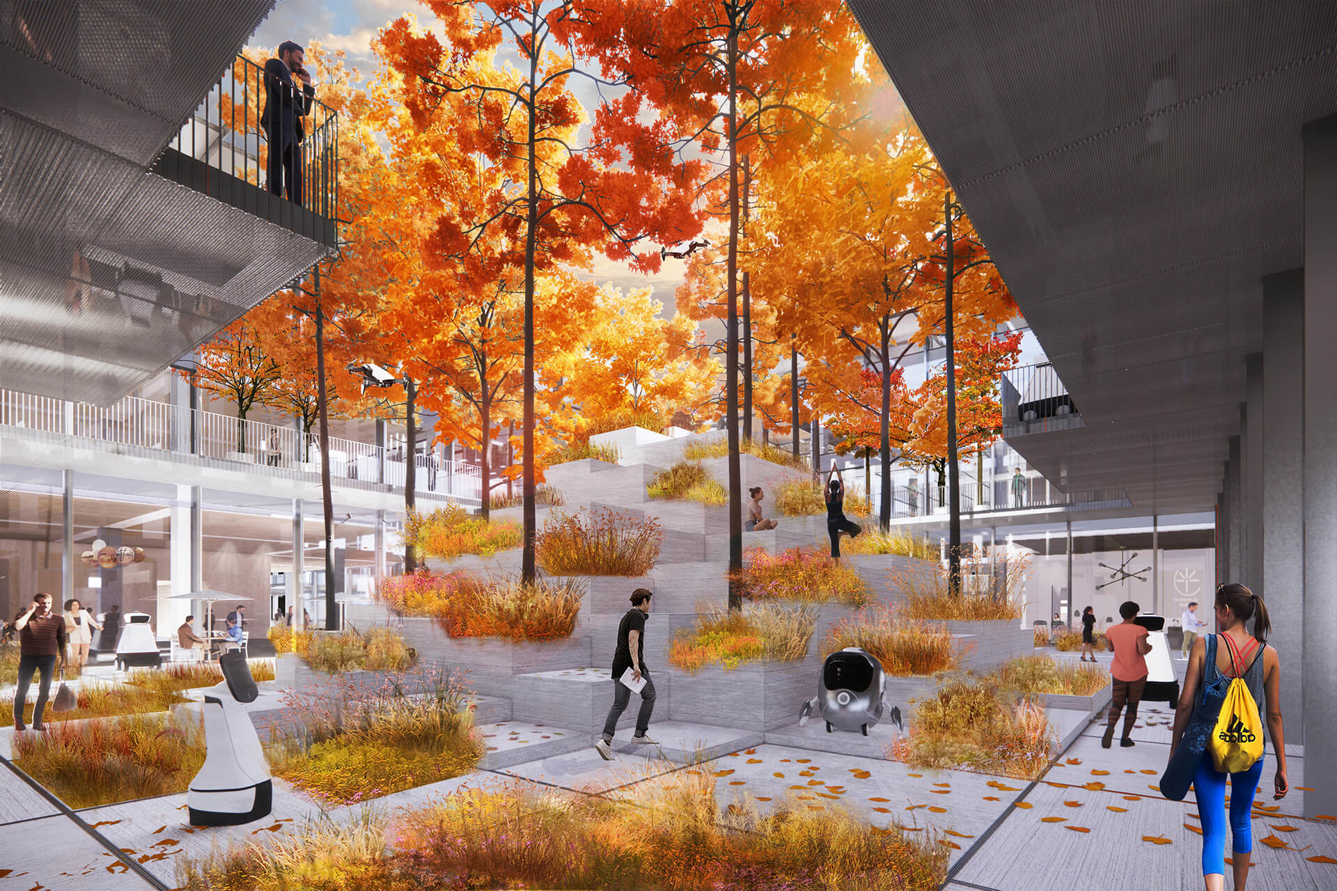 Multiple courtyards are formed in Cloud Valley | AI CITY by Bjarke Ingels Group | STIRworld