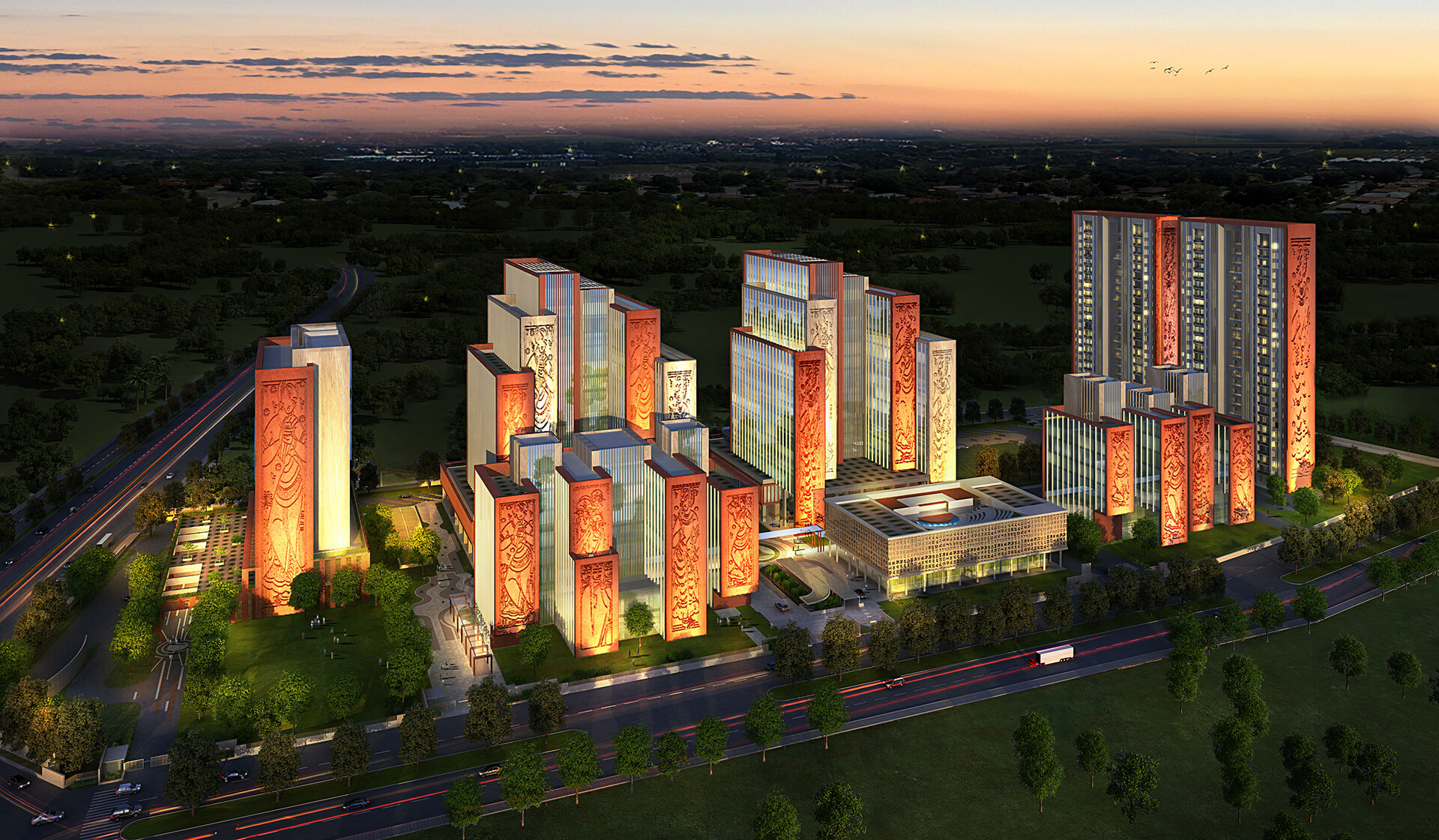 The mixed land use building features residential towers, commercial offices, a hotel and convention centre | ITC Campus by Morphogenesis | STIRworld
