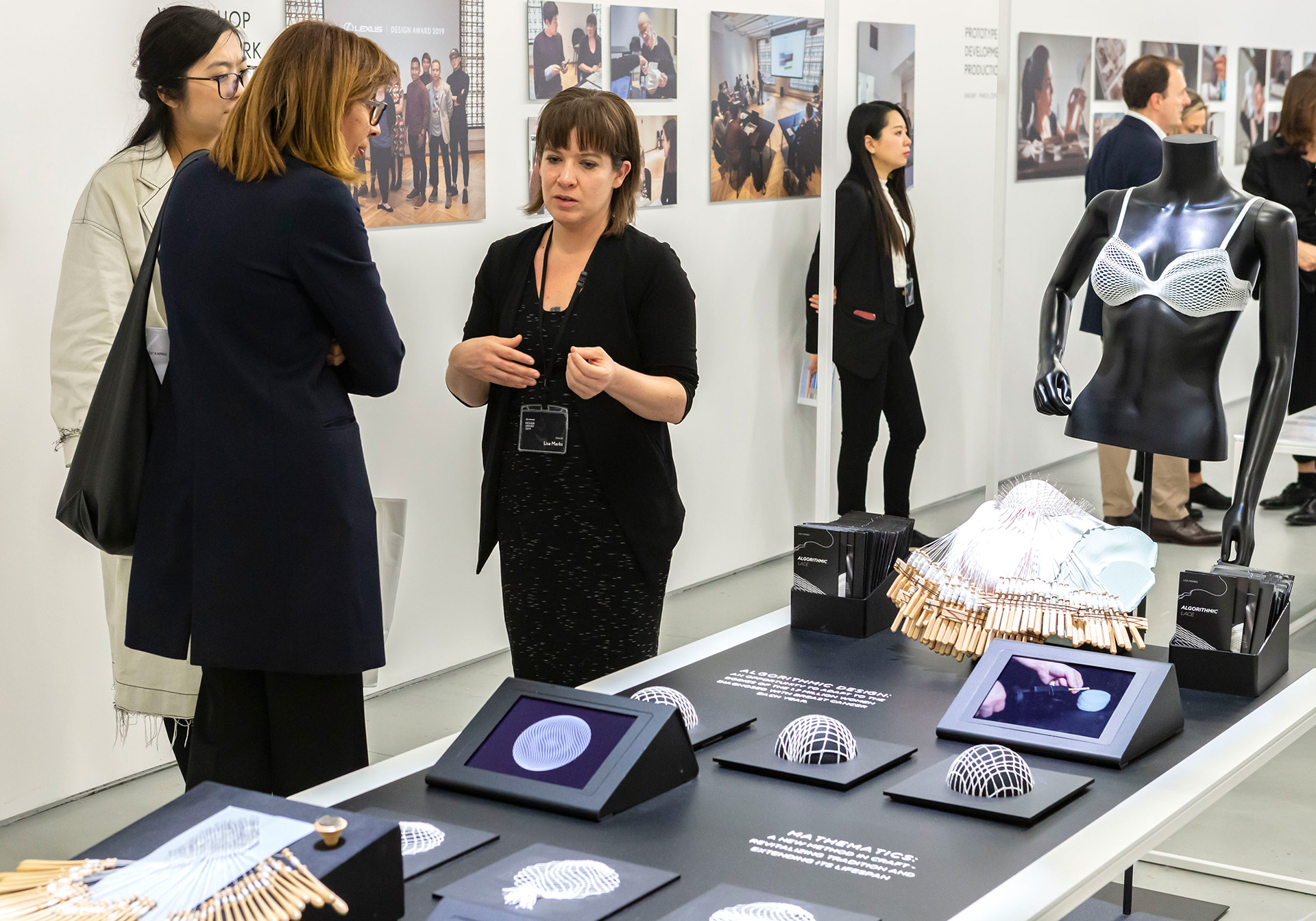 Lisa Marks explaining her designs to the visitors| Lisa Marks| Lexus Design Award| STIR
