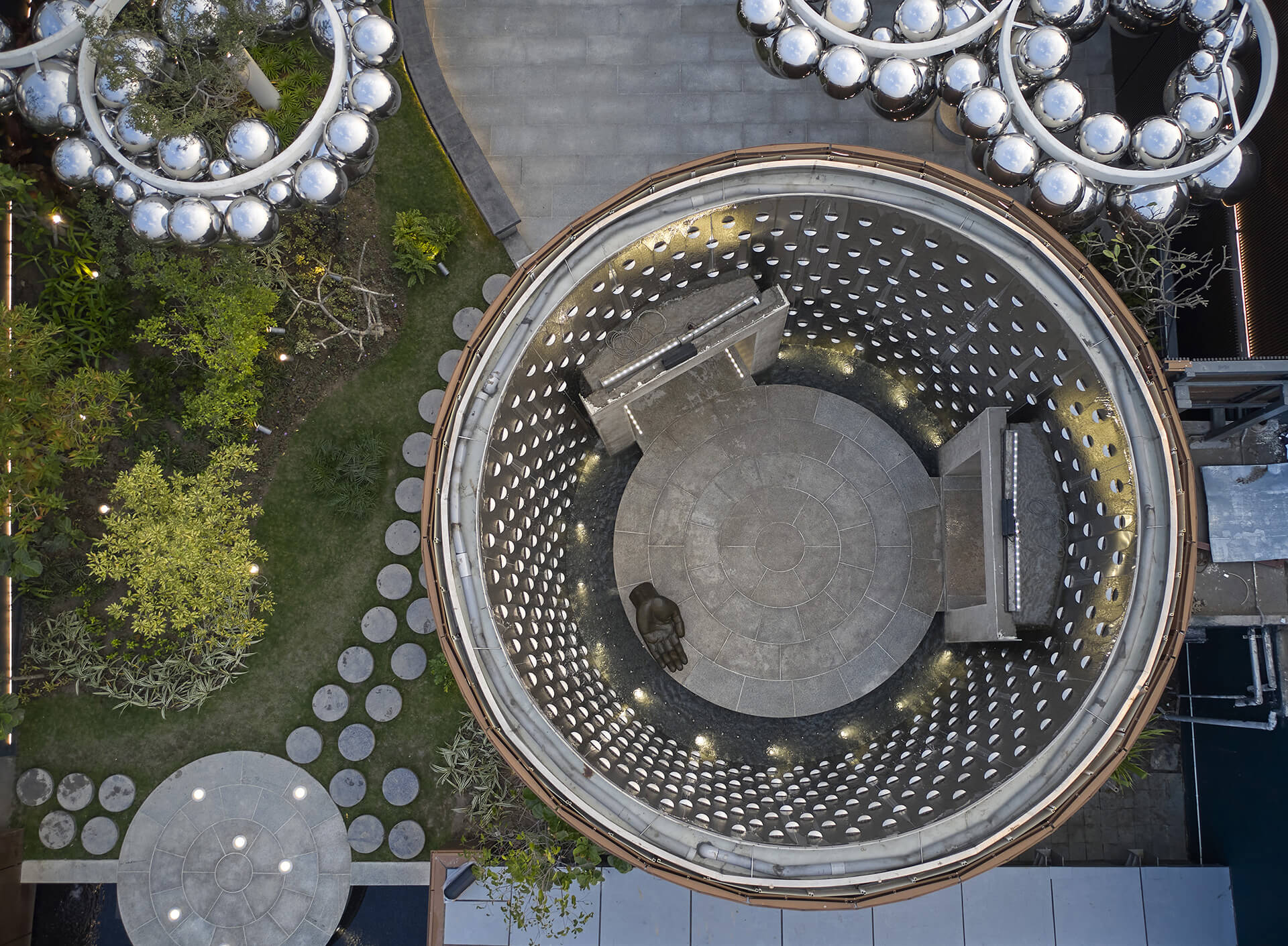 Aerial view of the rooftop of the corporate office where one can reach the circular foyer through an elevator | RP-Sanjiv Goenka Group corporate office by Abin Design Studio | STIRworld