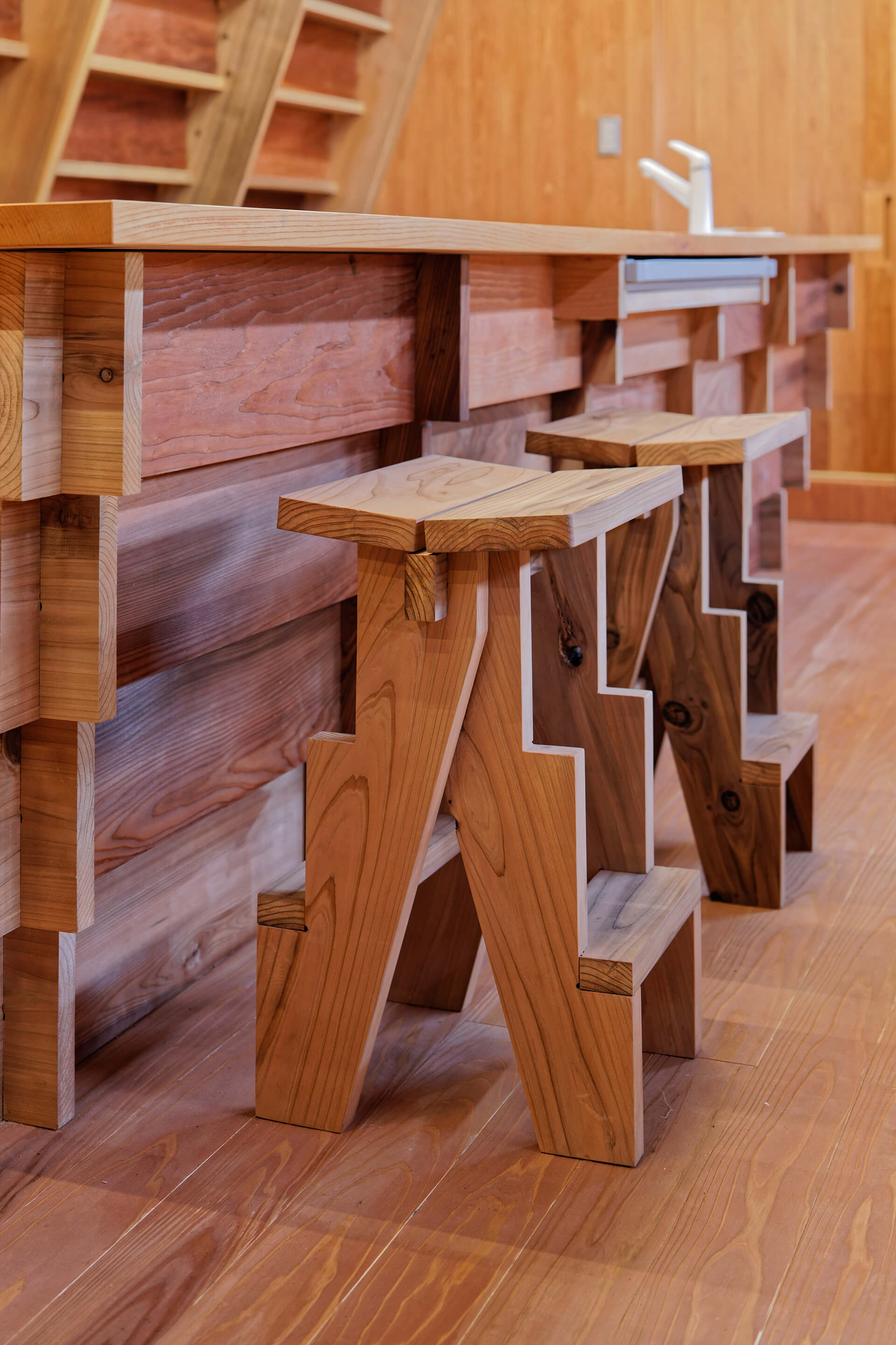 Wooden stools | House for Marebito designed by VUILD | STIRworld