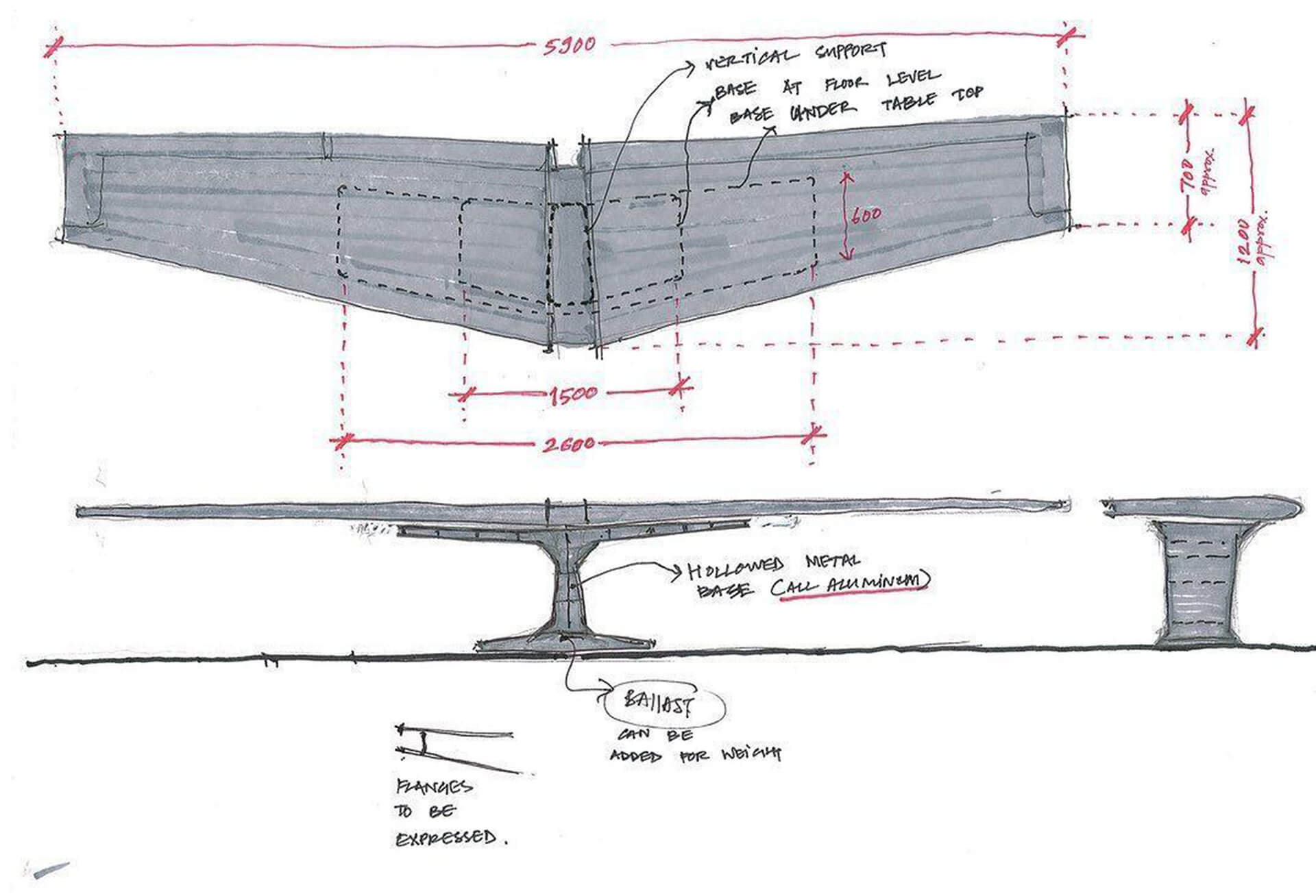 Initial sketches of the aircraft wing table | East India Hotels headquarters by Architecture Discipline | STIRworld