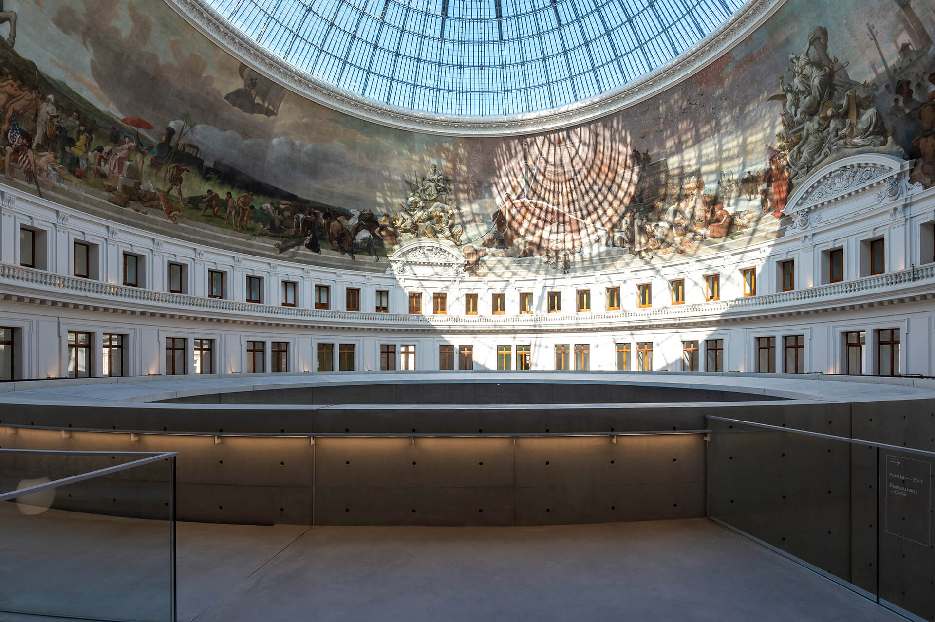 The top floor of the exhibition space and the disc shaped deck for viewing the cupola | Bourse De Commerce – Pinault Collection | Tadao Ando Architect & Associates, Niney and Marca Architects, and Agence Pierre-Antoine Gatier | STIRworld