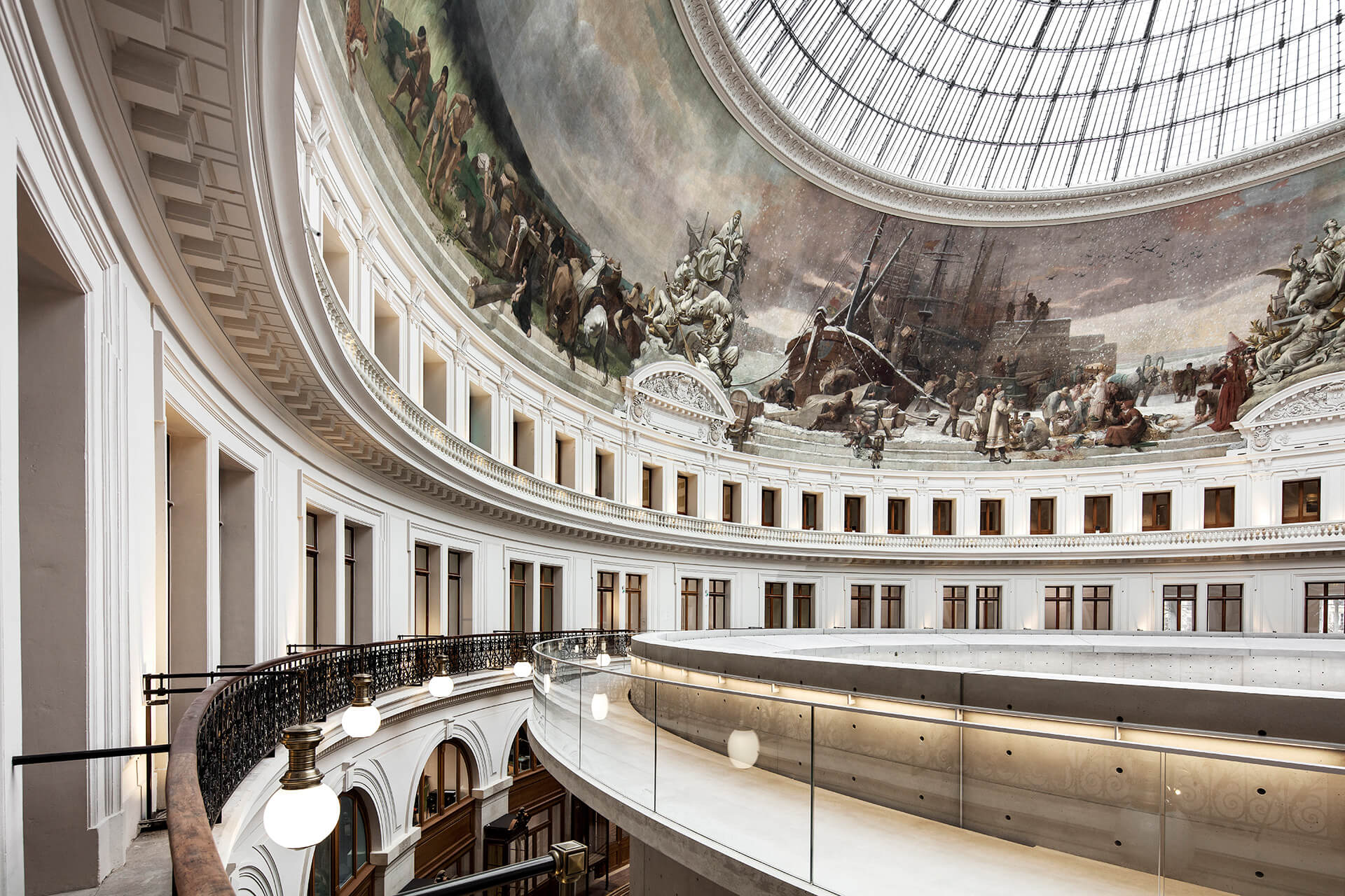 The fresco at the base of the cupola of Bourse de Commerce depicting French trade across the continents | Bourse De Commerce – Pinault Collection | Tadao Ando Architect & Associates, Niney and Marca Architects, and Agence Pierre-Antoine Gatier | STIRworld
